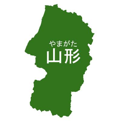 山形県イラストマップ県名ルビあり(緑)