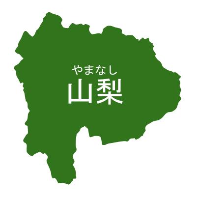 山梨県イラストマップ県名ルビあり(緑)