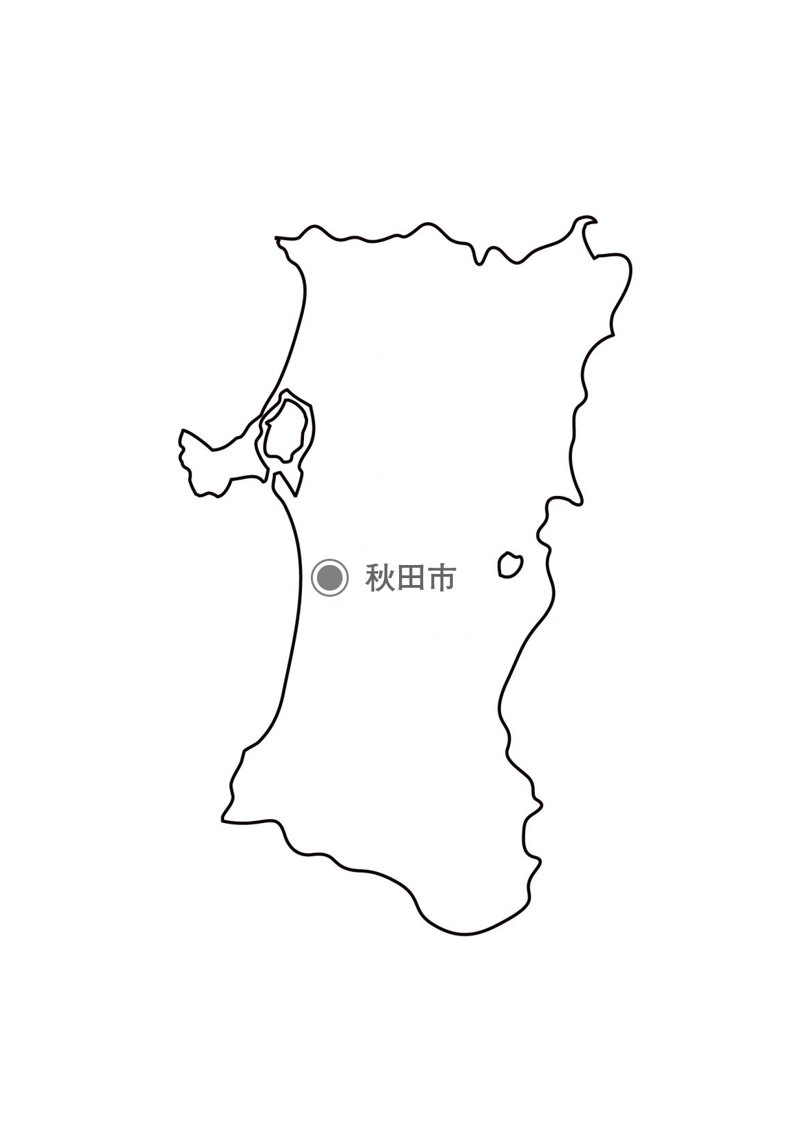 [白地図]秋田県・都道府県名・県庁所在地あり