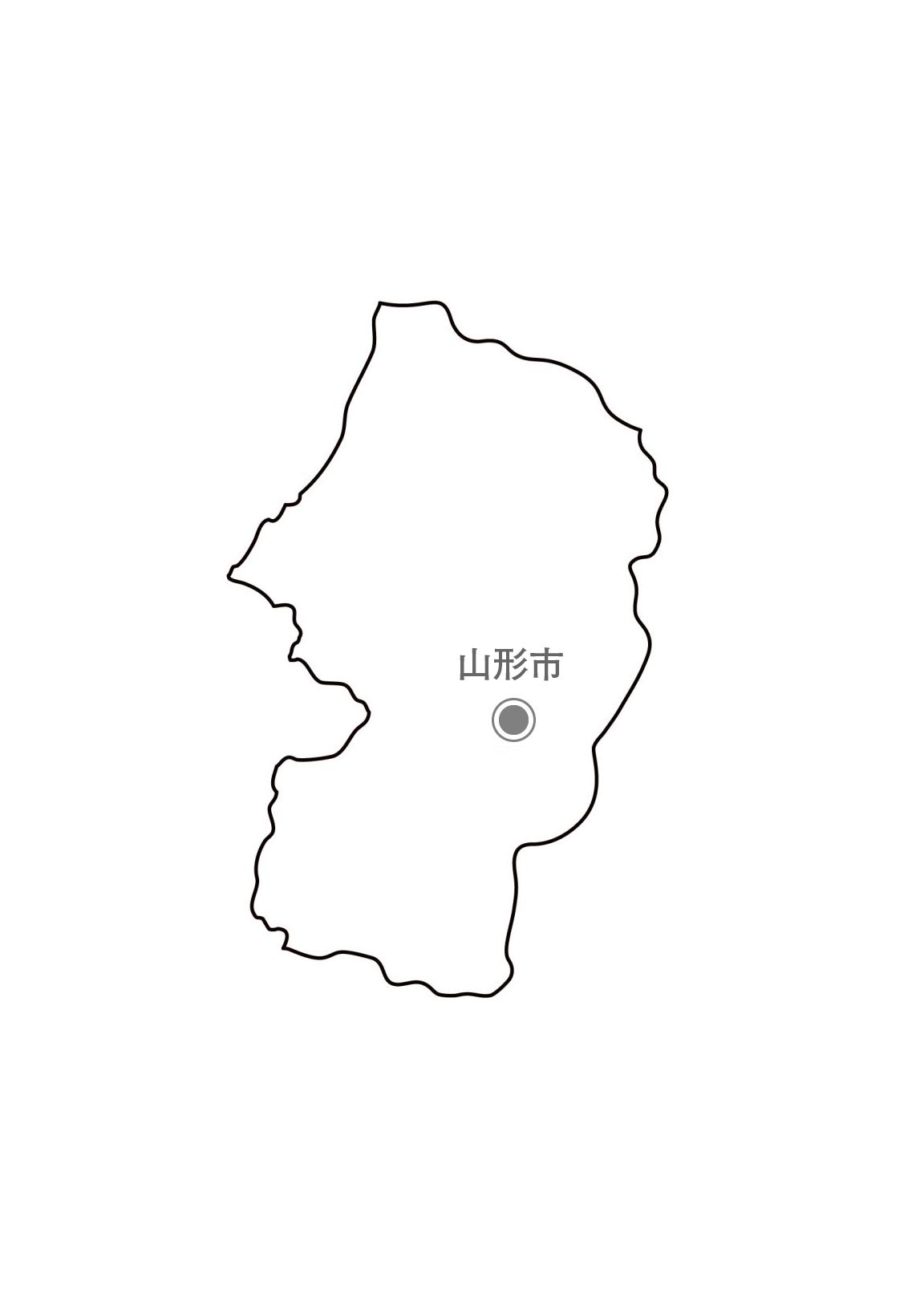 [白地図]山形県・都道府県名・県庁所在地あり
