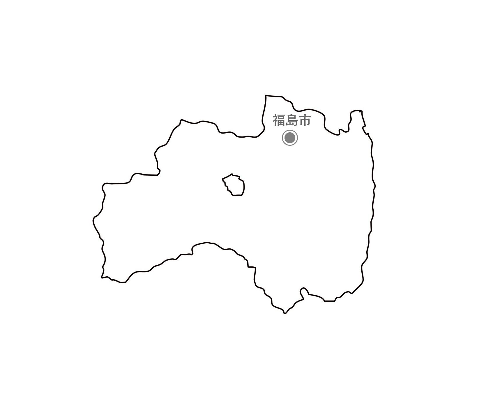 [白地図]福島県・都道府県名・県庁所在地あり
