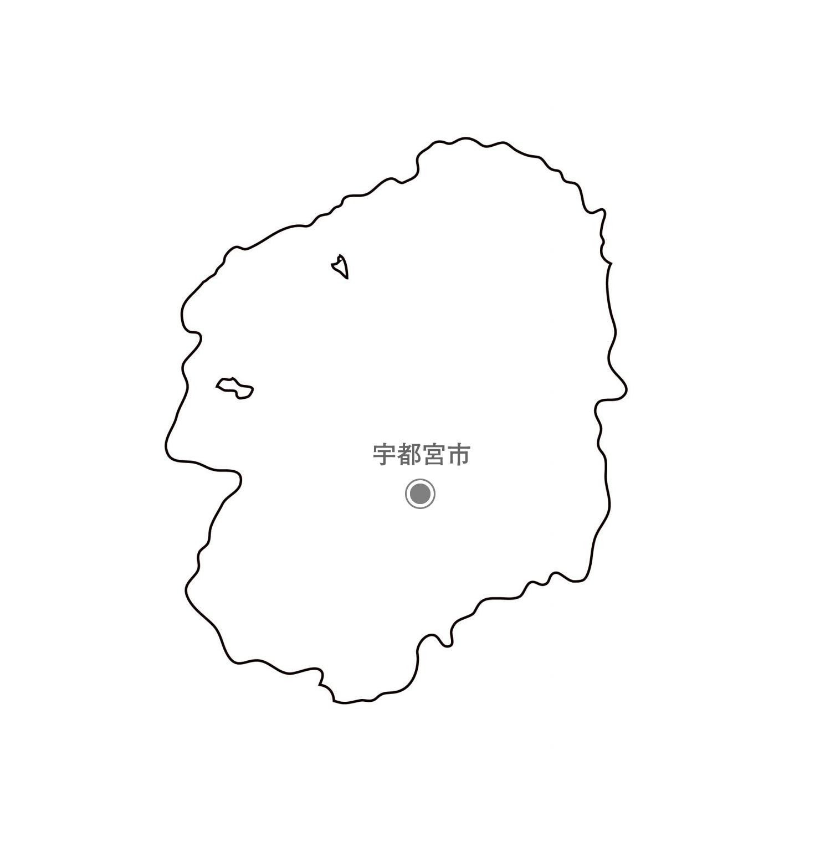 [白地図]栃木県・都道府県名・県庁所在地あり
