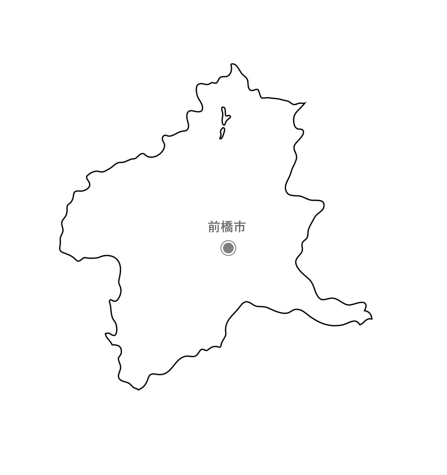 [白地図]群馬県・都道府県名・県庁所在地あり