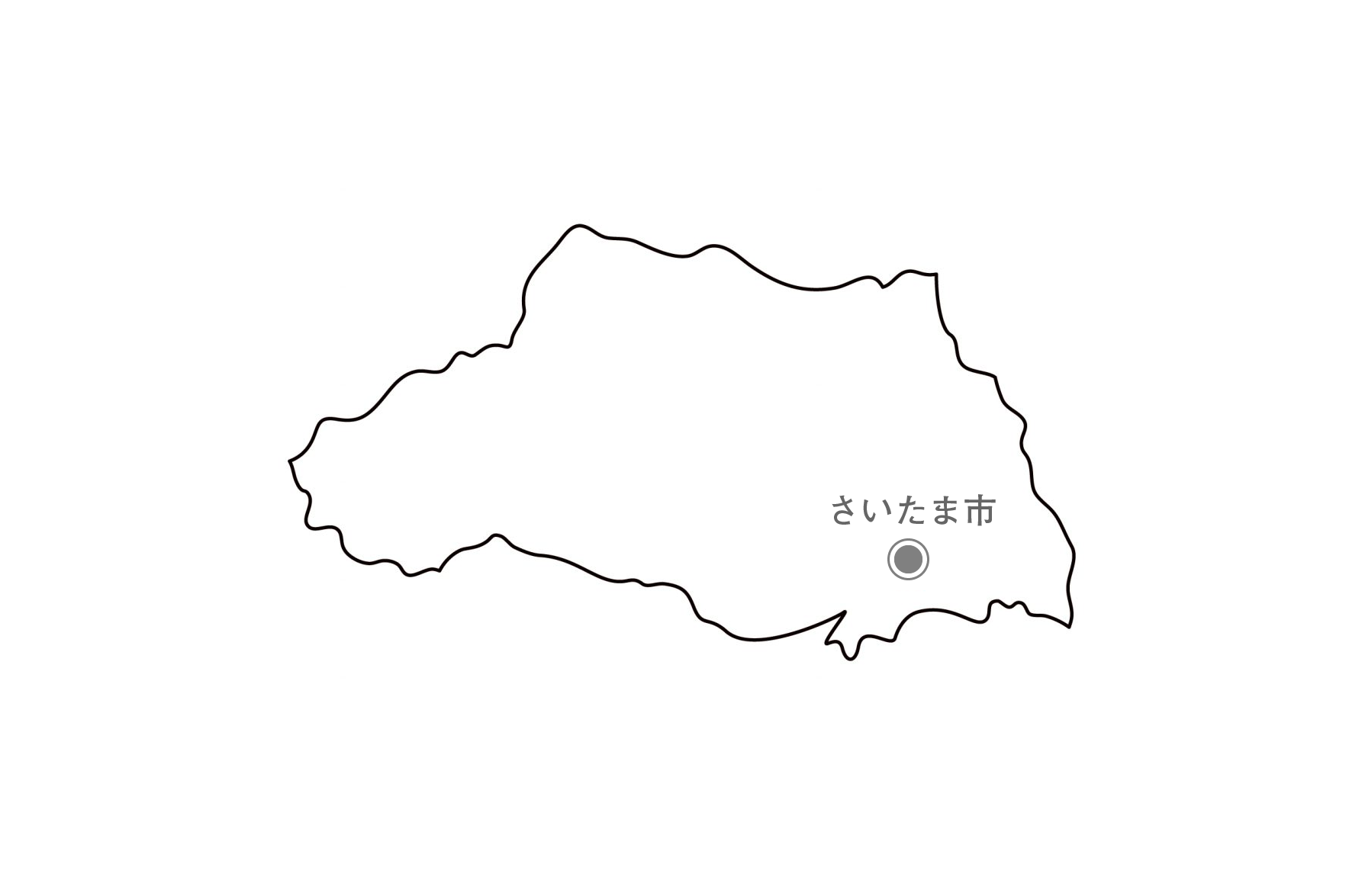 [白地図]埼玉県・都道府県名・県庁所在地あり
