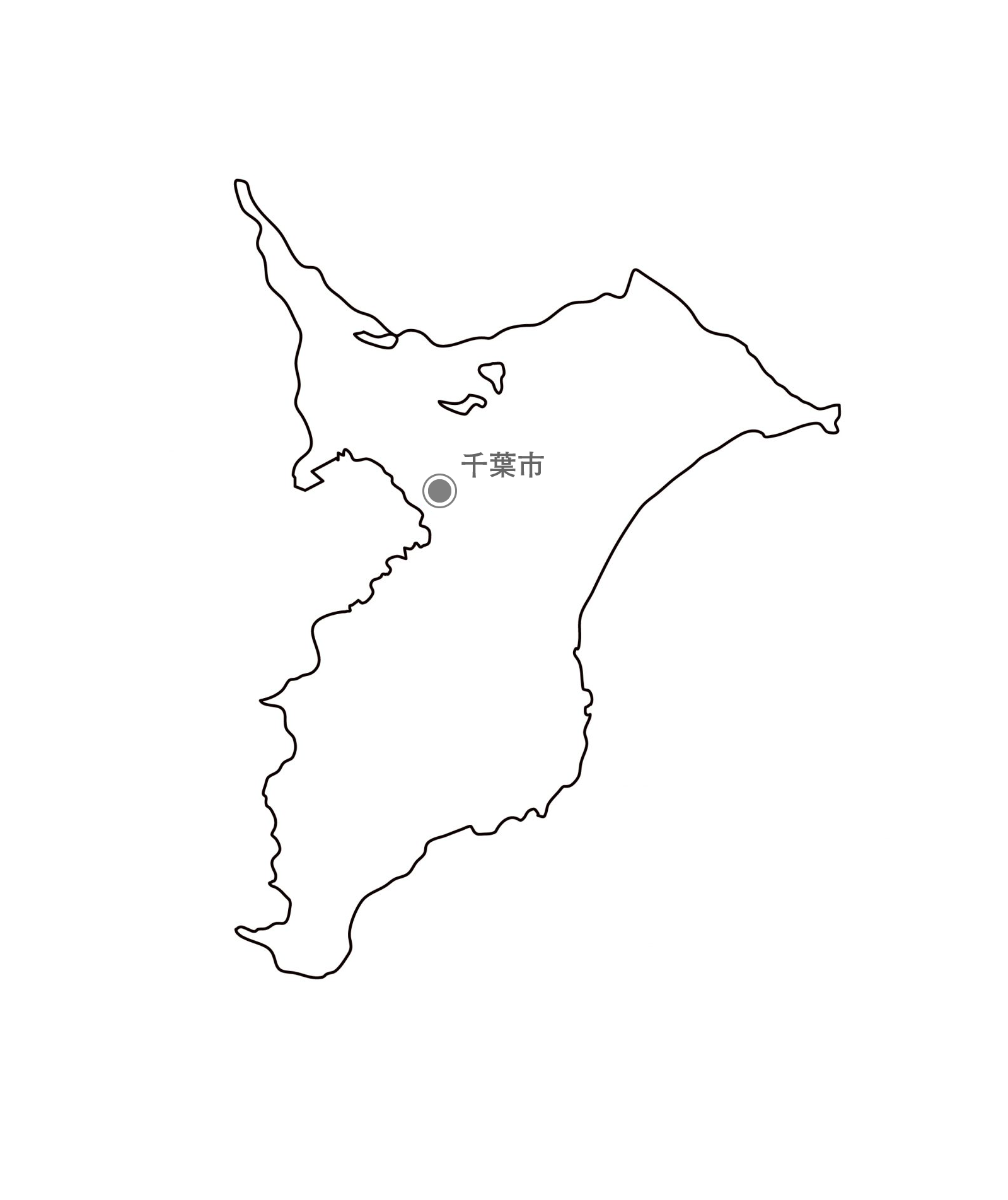 [白地図]千葉県・都道府県名・県庁所在地あり