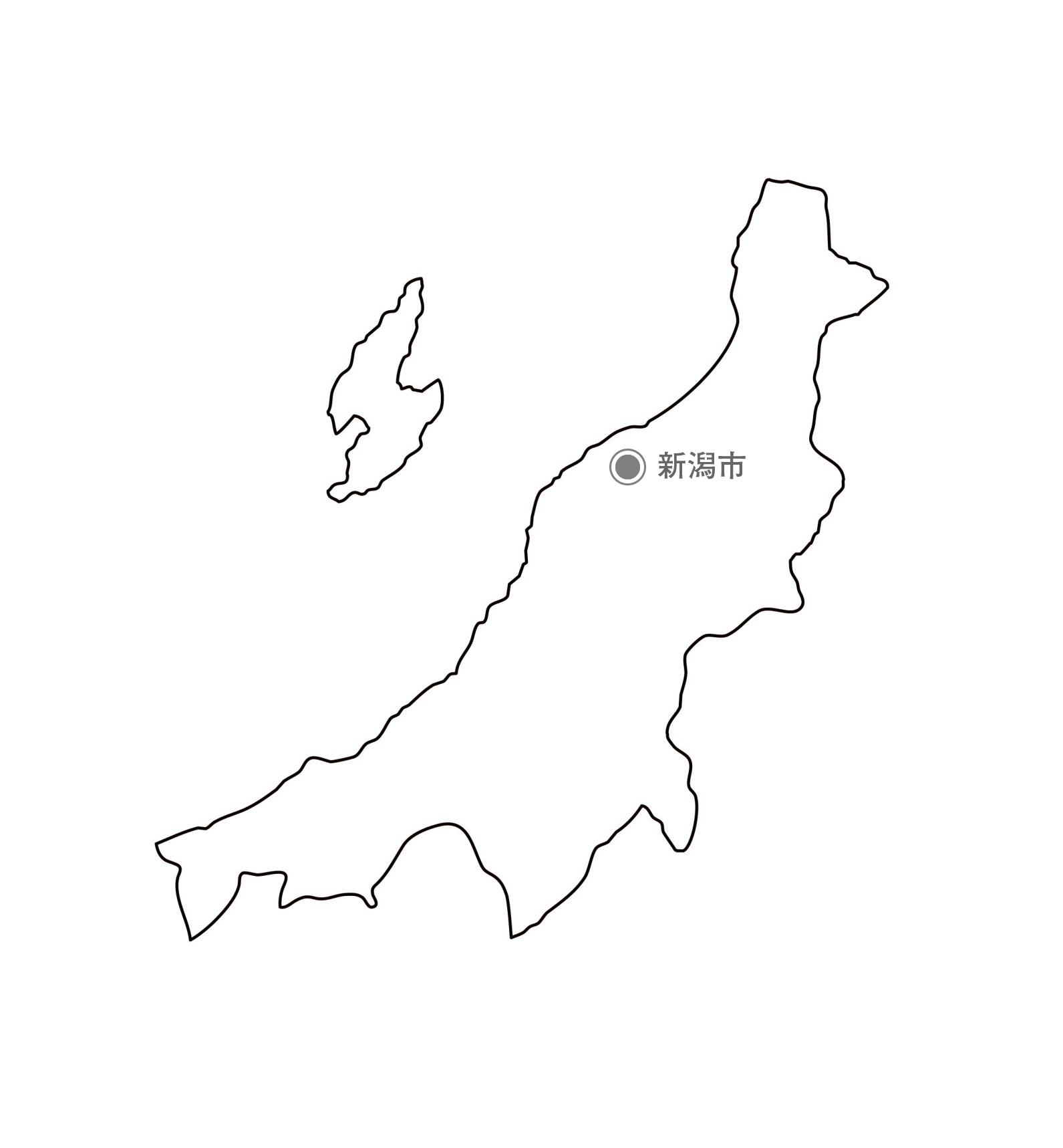 [白地図]新潟県・都道府県名・県庁所在地あり
