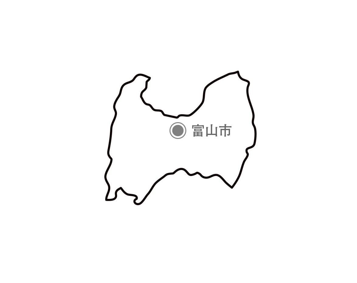 [白地図]富山県・都道府県名・県庁所在地あり