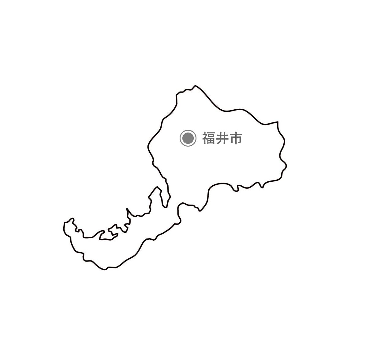 [白地図]福井県・都道府県名・県庁所在地あり