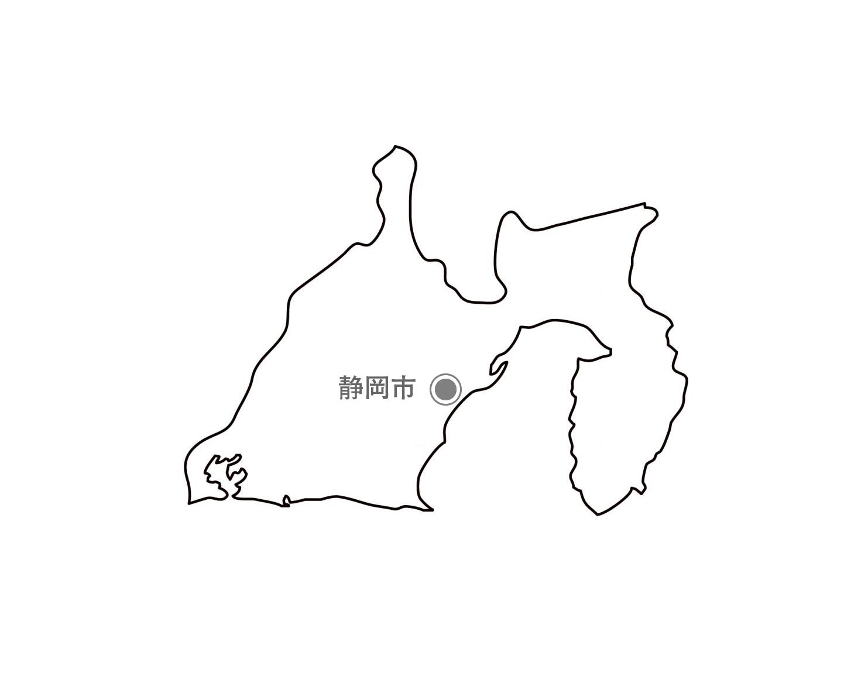 [白地図]静岡県・都道府県名・県庁所在地あり