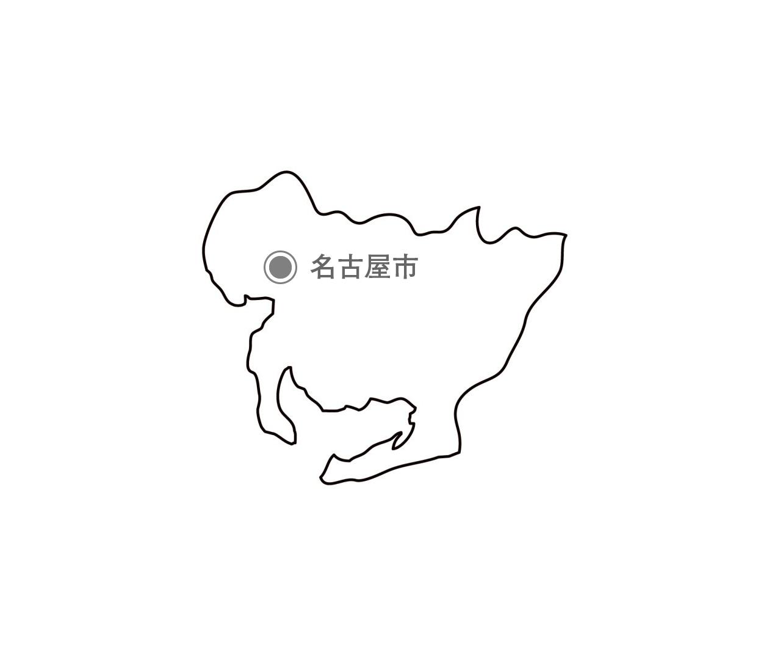 [白地図]愛知県・都道府県名・県庁所在地あり