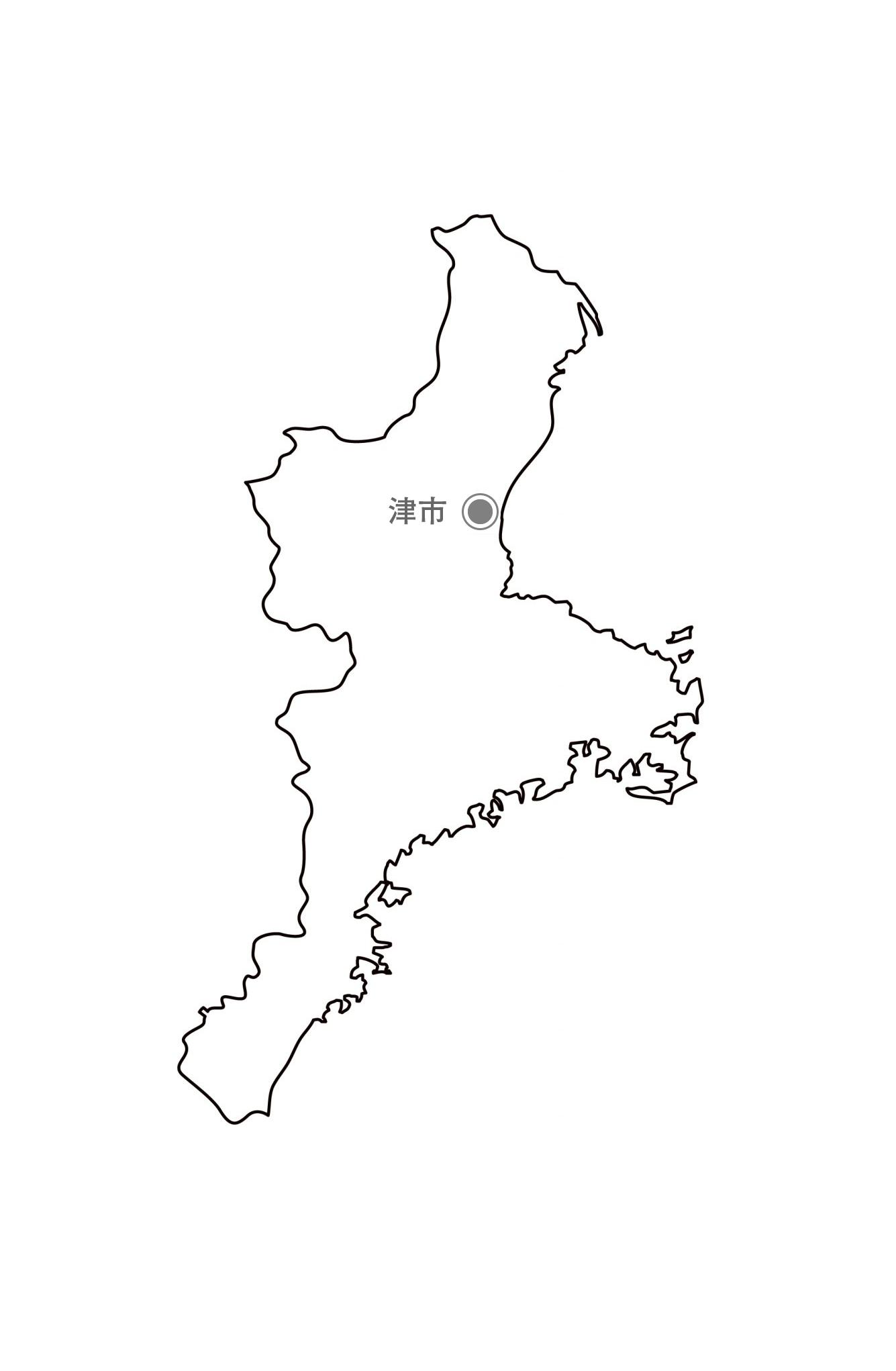 [白地図]三重県・都道府県名・県庁所在地あり