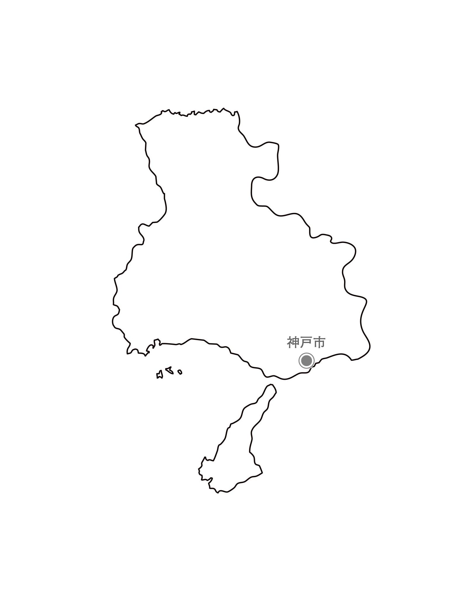 [白地図]兵庫県・都道府県名・県庁所在地あり