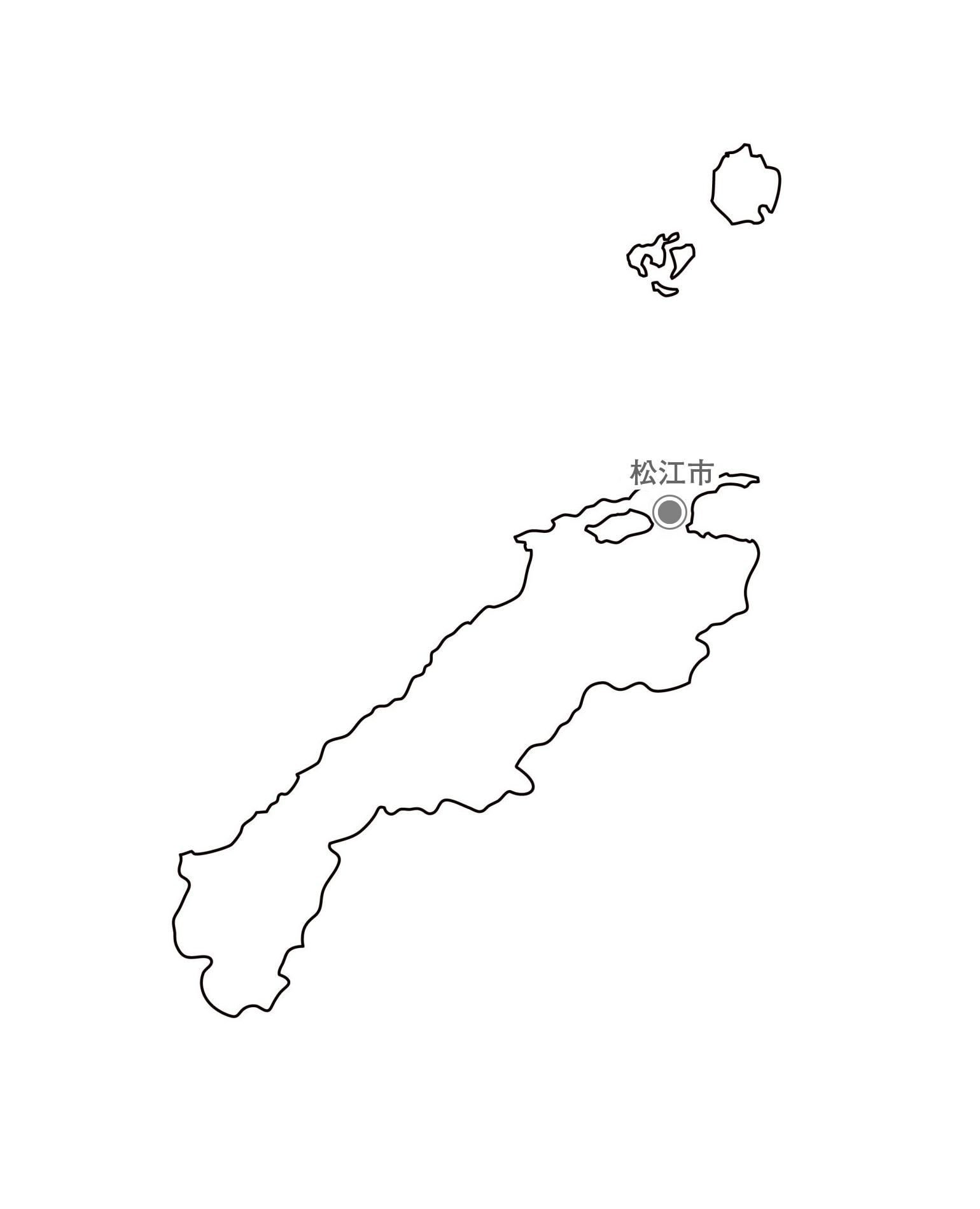 [白地図]島根県・都道府県名・県庁所在地あり