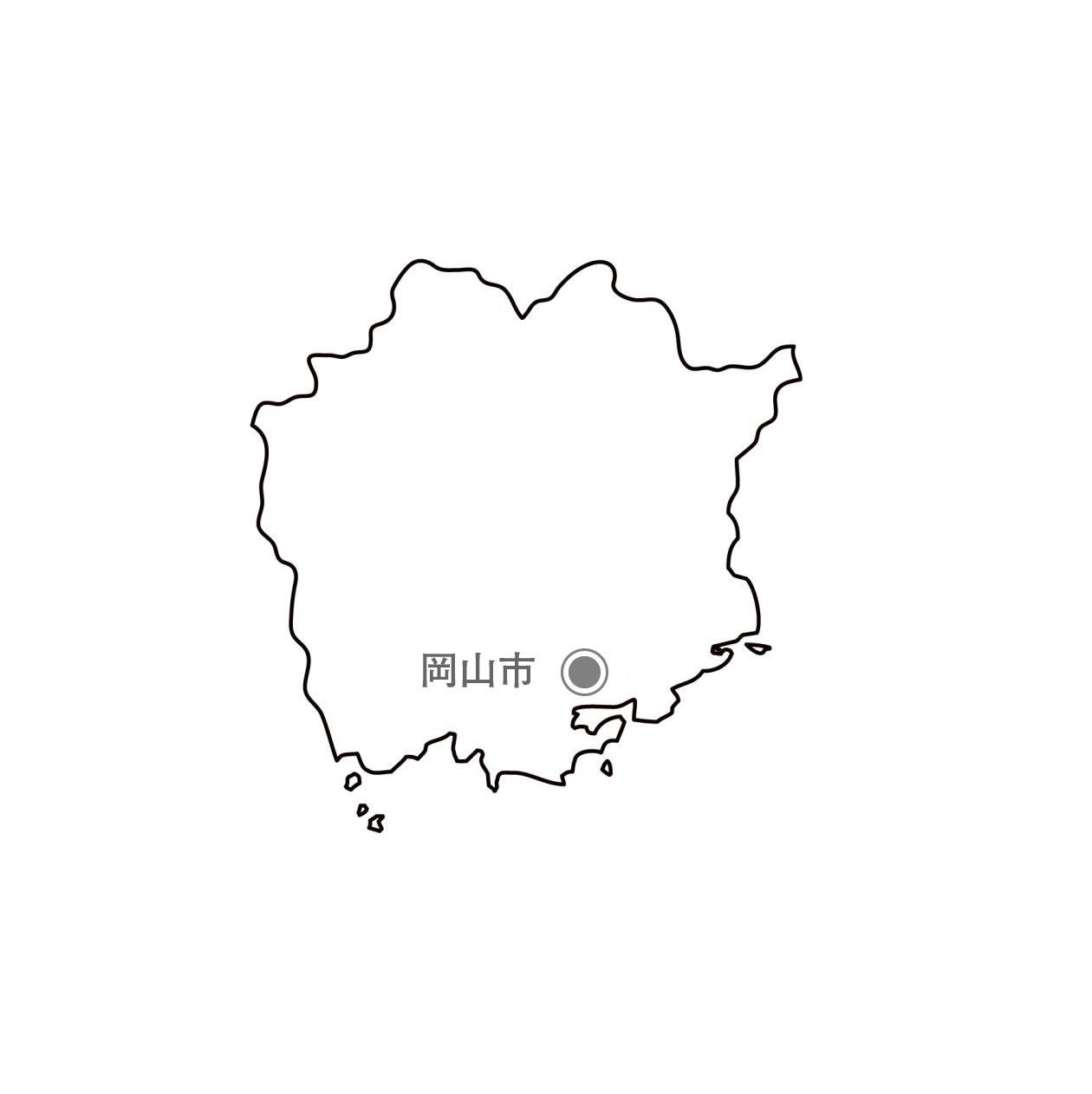 [白地図]岡山県・都道府県名・県庁所在地あり