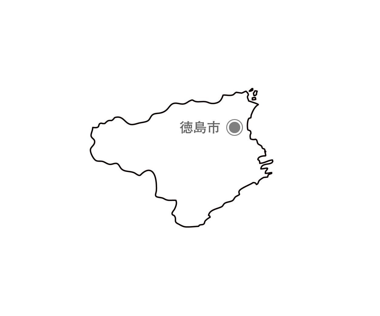 [白地図]徳島県・都道府県名・県庁所在地あり