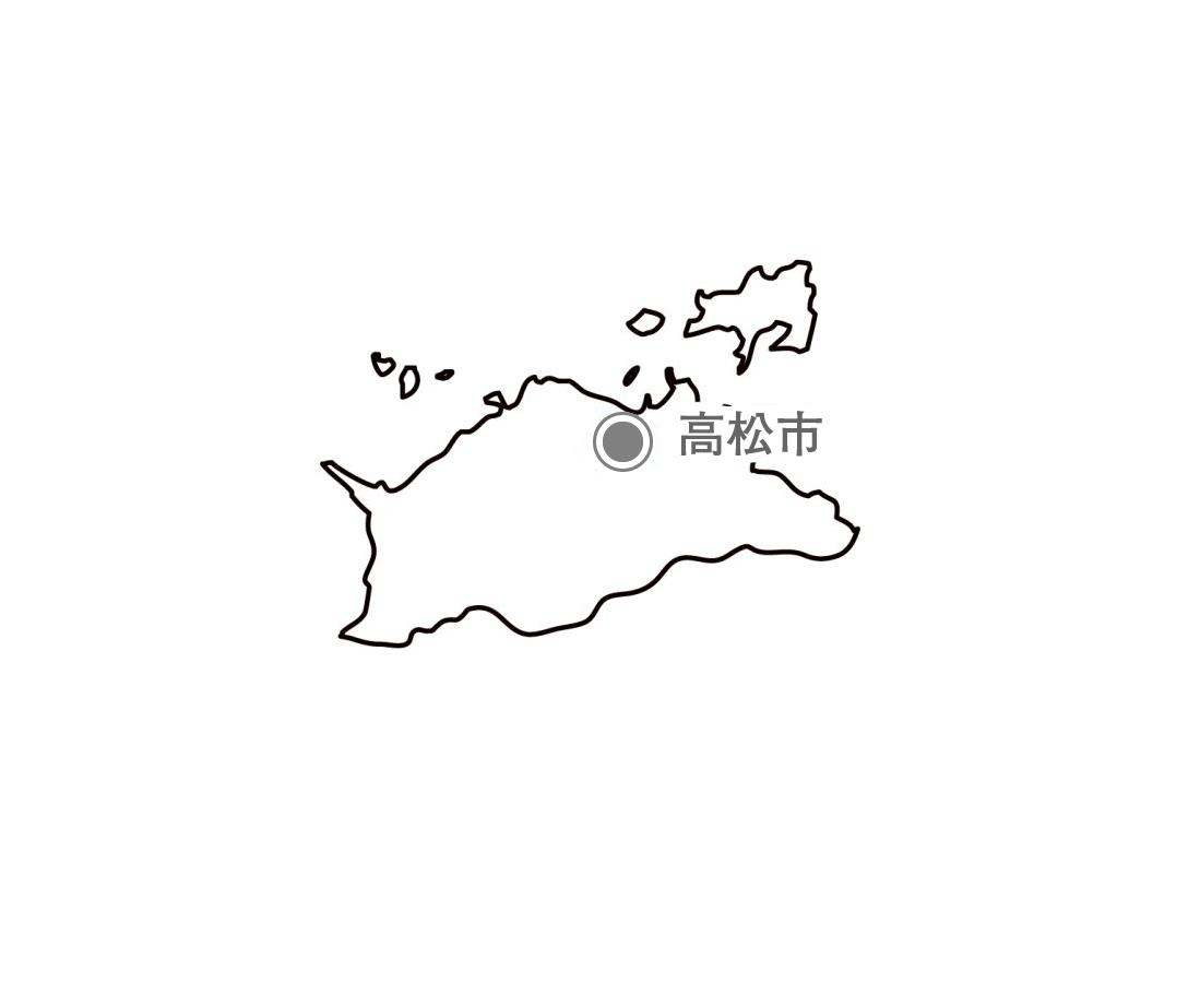 [白地図]香川県・都道府県名・県庁所在地あり