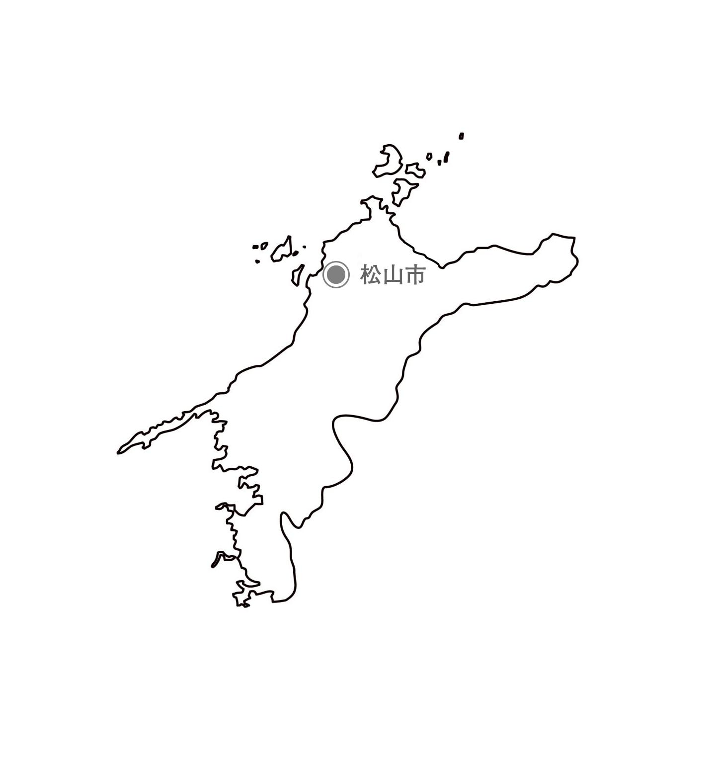 [白地図]愛媛県・都道府県名・県庁所在地あり