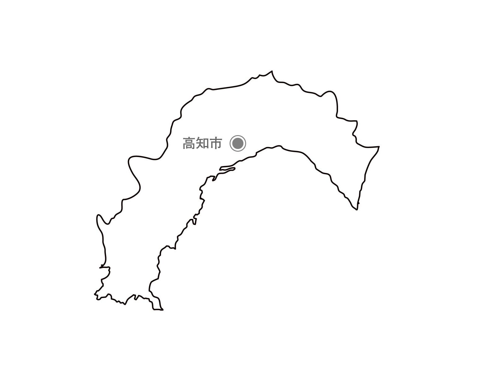 [白地図]高知県・都道府県名・県庁所在地あり