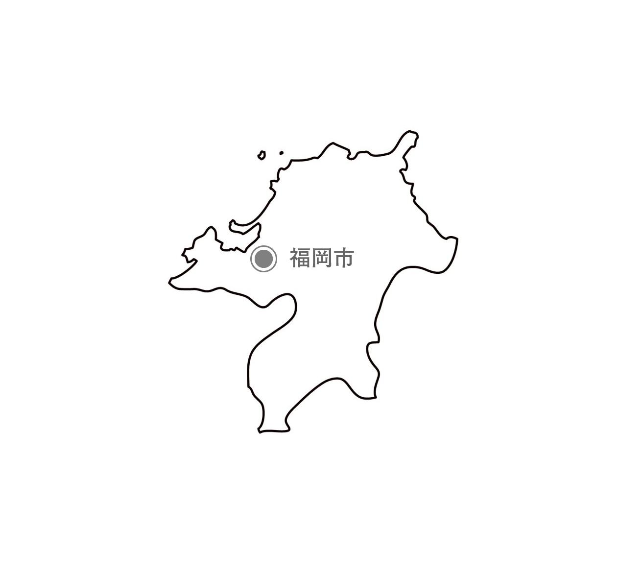 [白地図]福岡県・都道府県名・県庁所在地あり