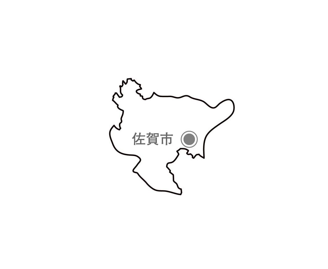 [白地図]佐賀県・都道府県名・県庁所在地あり