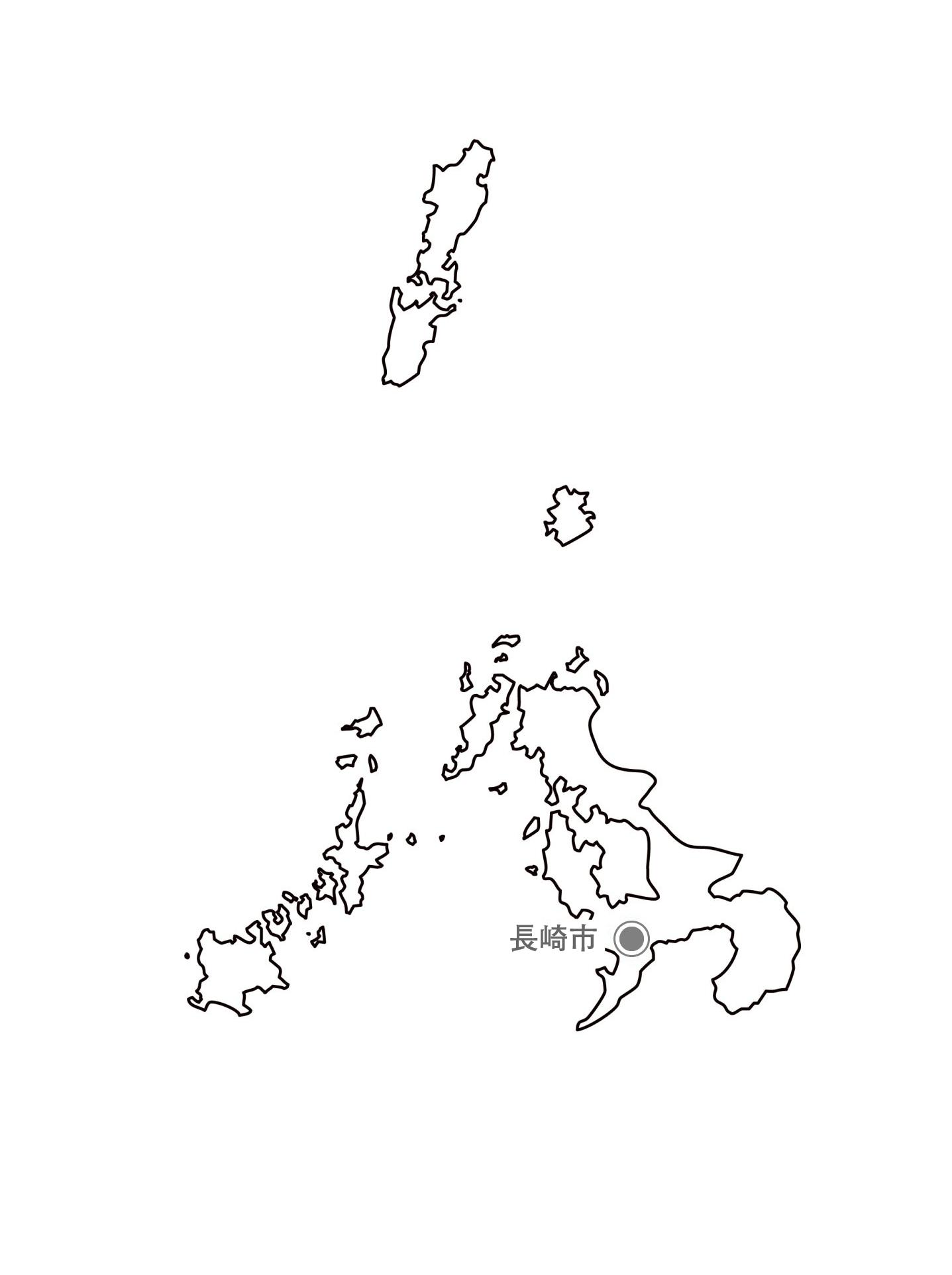 [白地図]長崎県・都道府県名・県庁所在地あり