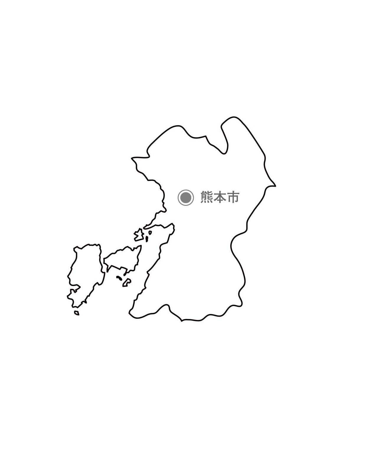 [白地図]熊本県・都道府県名・県庁所在地あり