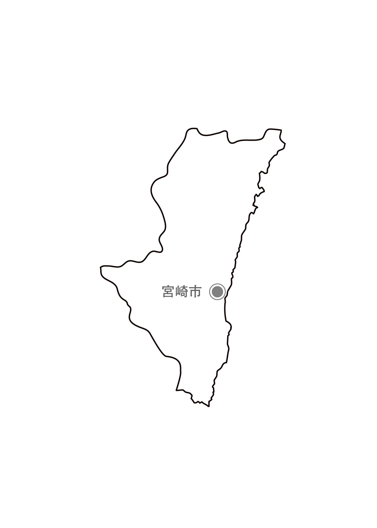 [白地図]宮崎県・都道府県名・県庁所在地あり