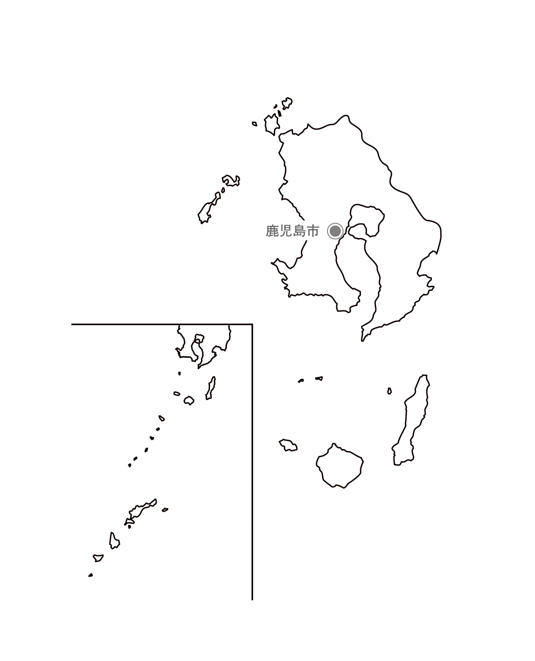 [白地図]鹿児島県・都道府県名・県庁所在地あり