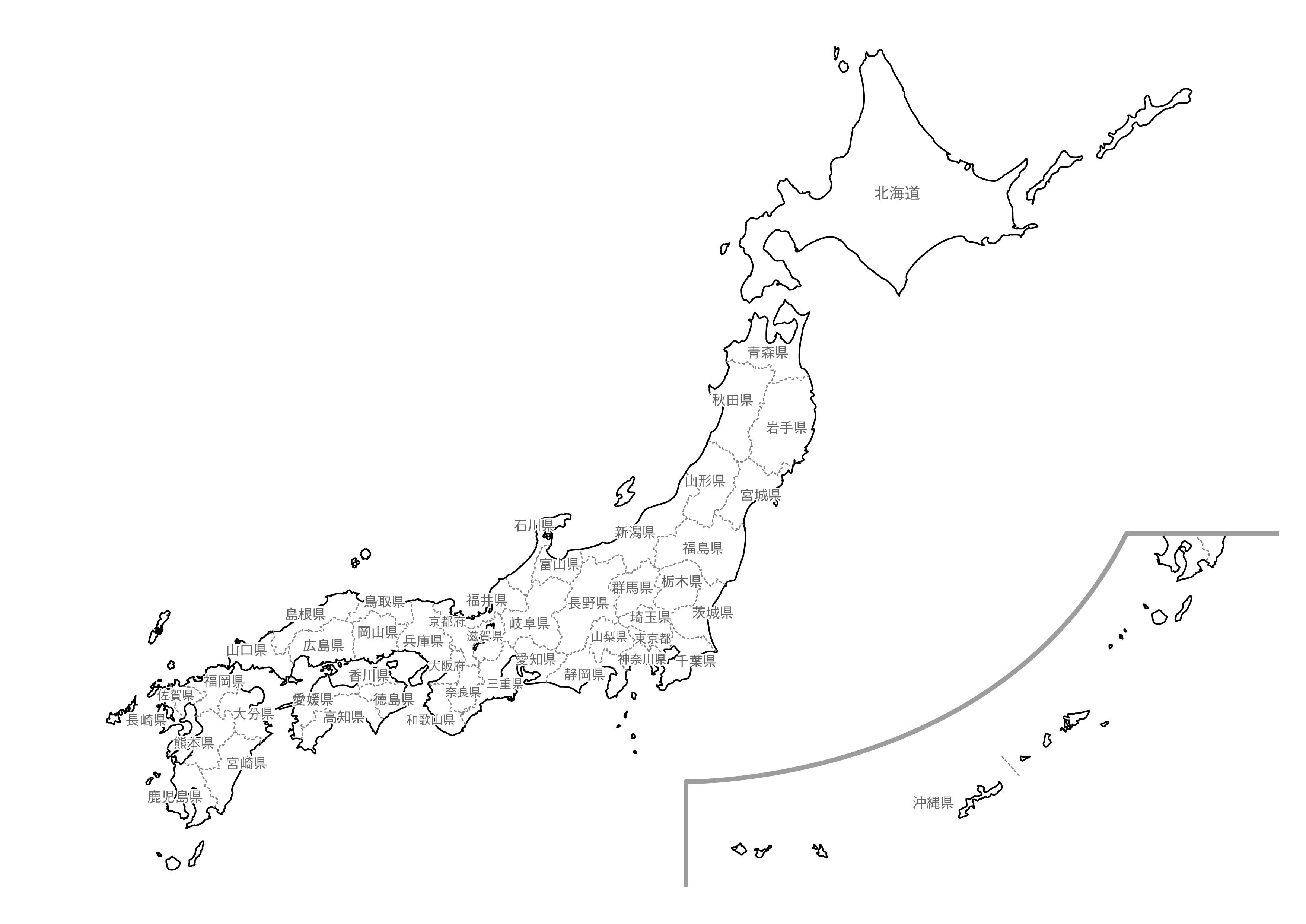 [白地図]日本全土・県名あり