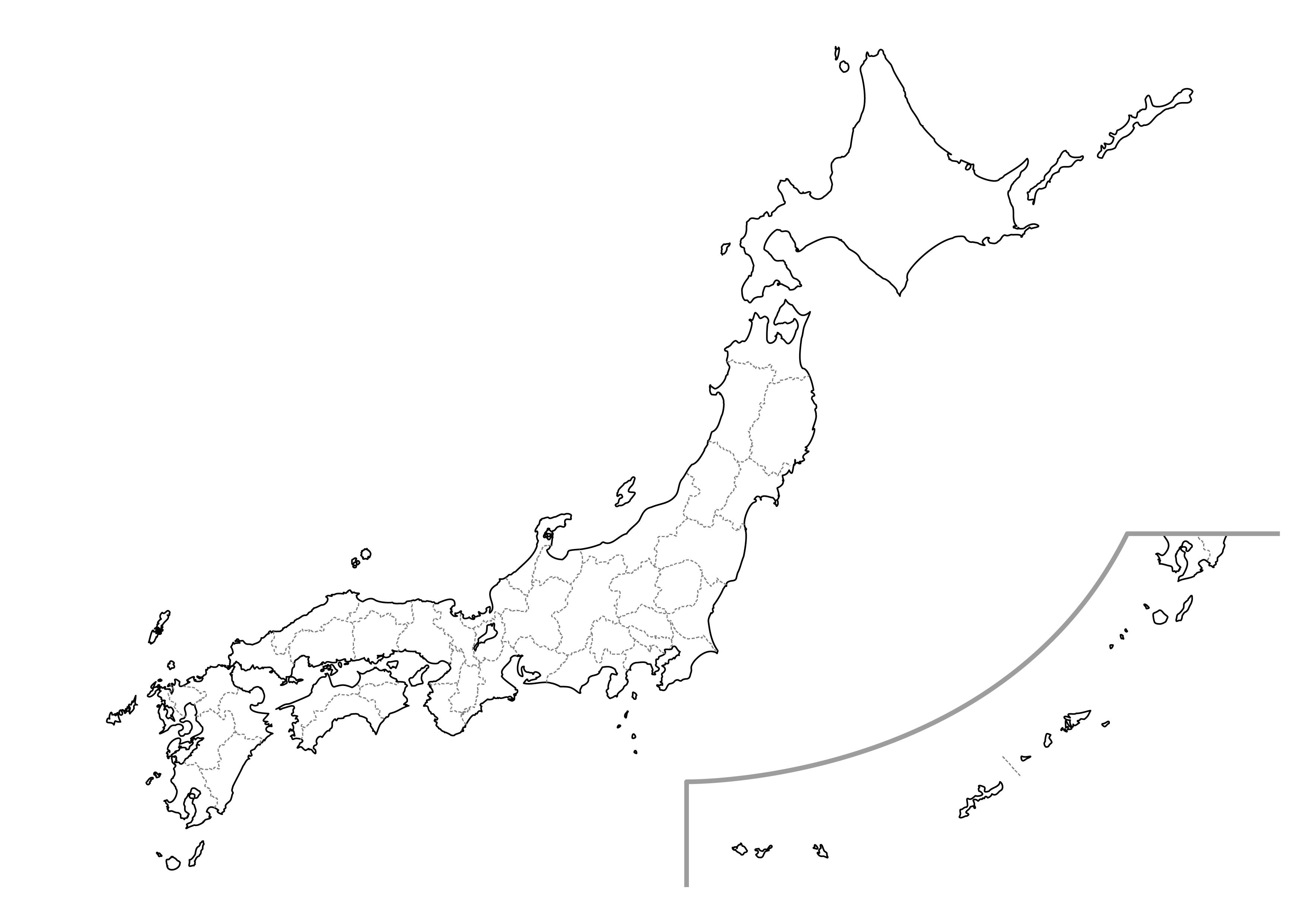 [白地図]日本全土・県名あり・県庁所在地あり