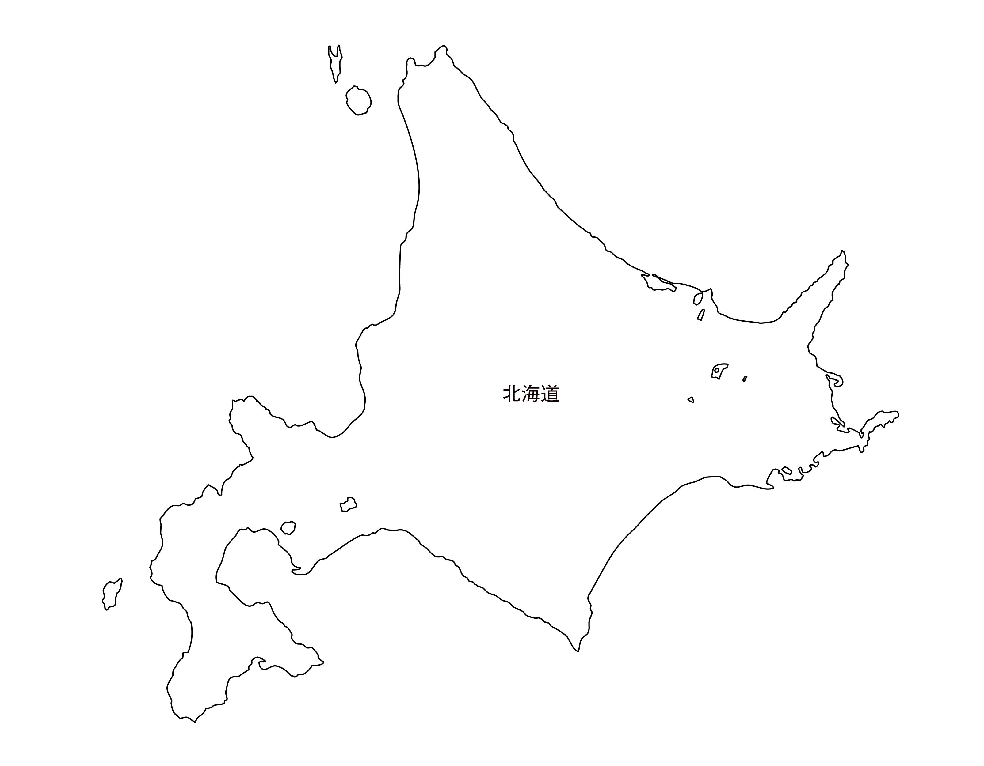 [白地図]北海道・都道府県名あり