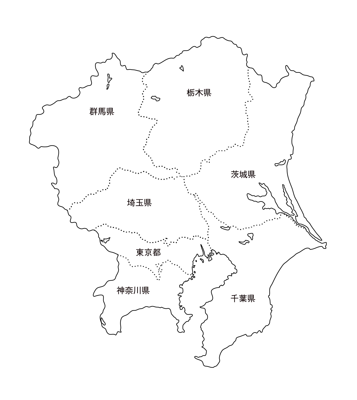 [白地図]関東・都道府県名あり