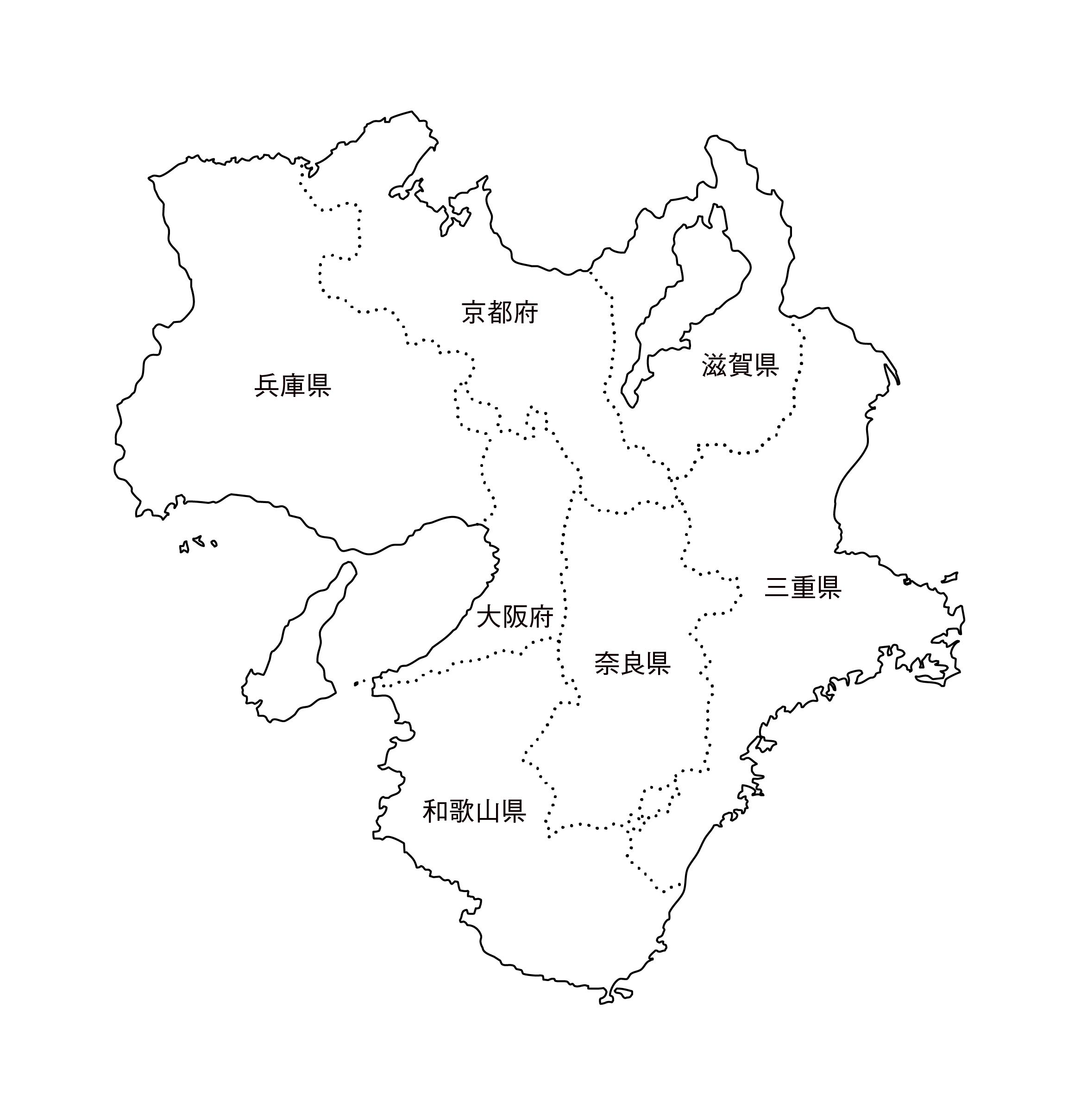 [白地図]近畿・都道府県名あり