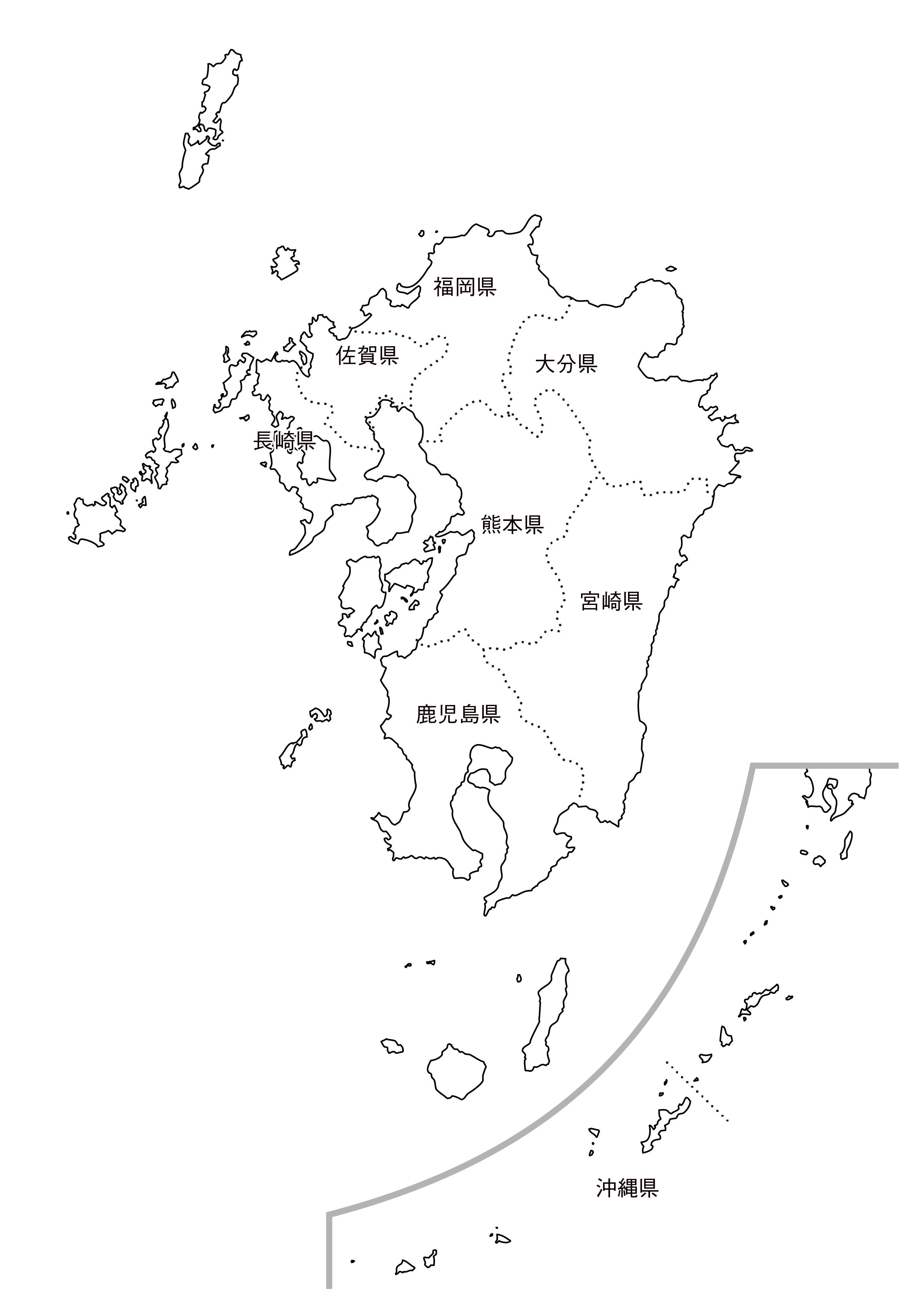 [白地図]九州沖縄・都道府県名あり
