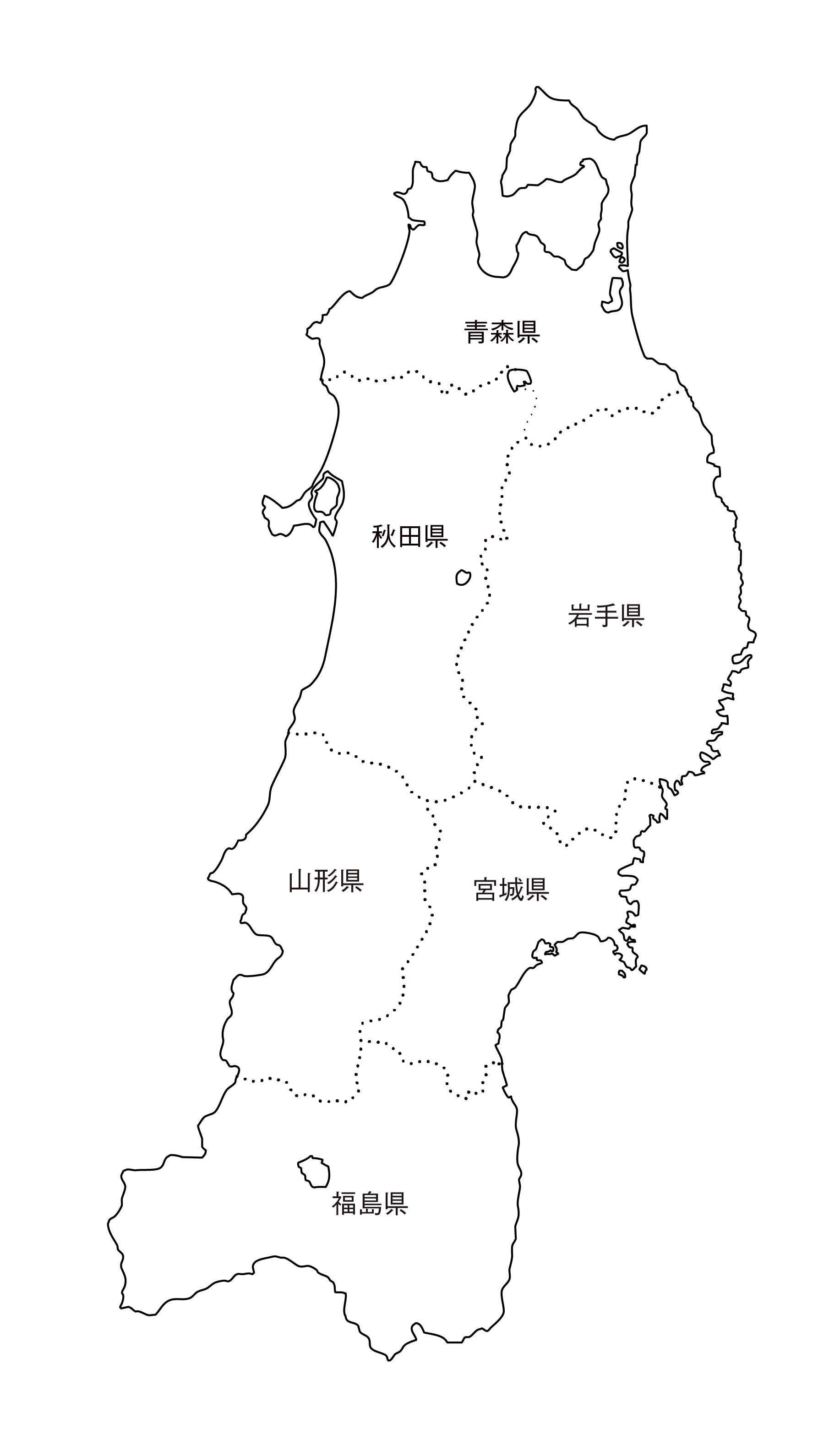 [白地図]東北・都道府県名あり