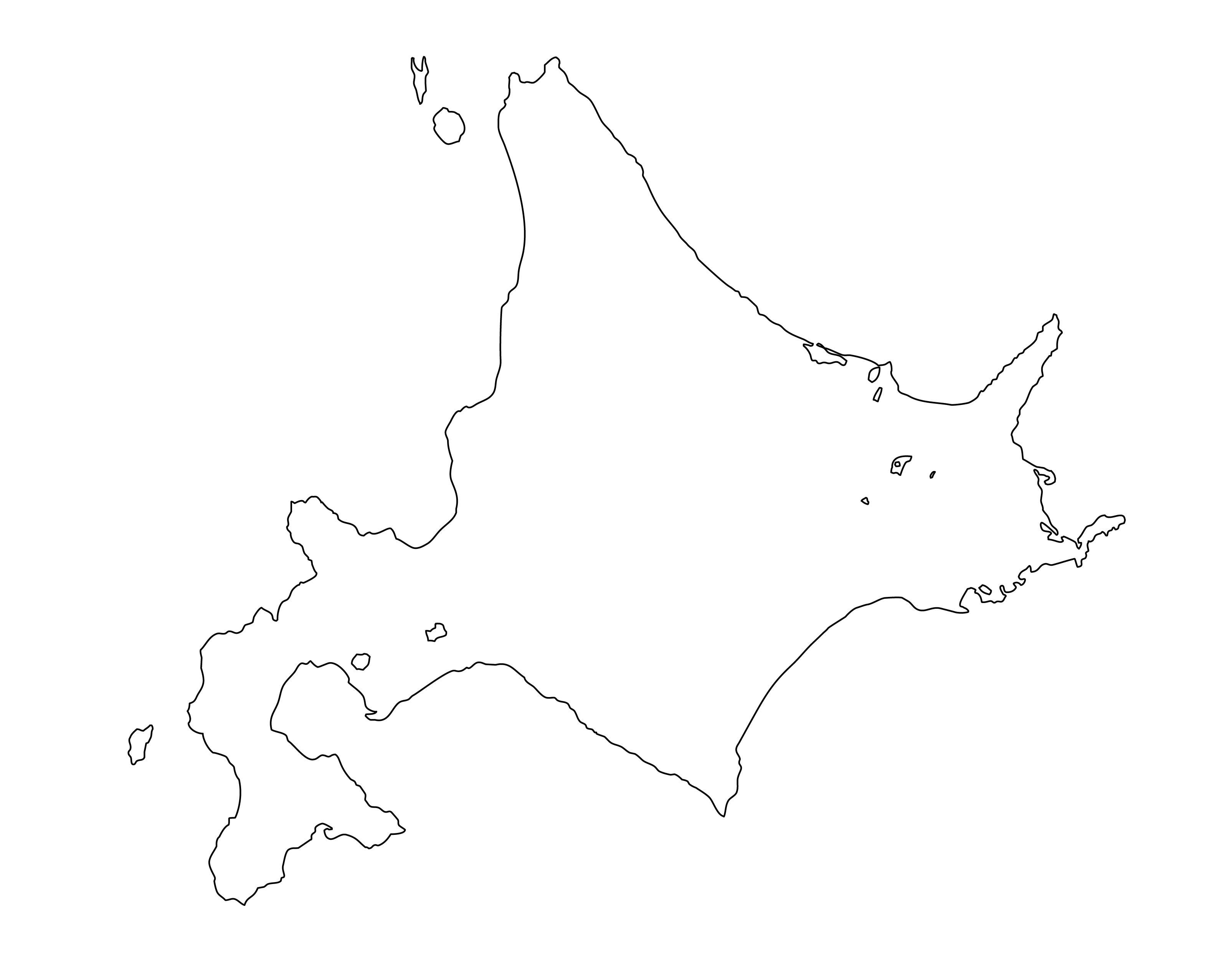 白地図・北海道・都道府県名なし