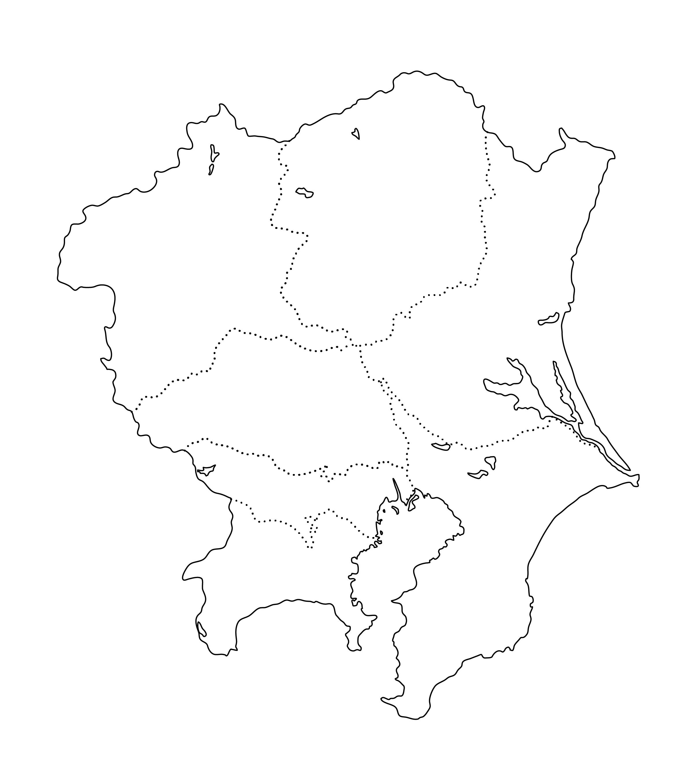 白地図・関東・都道府県名なし
