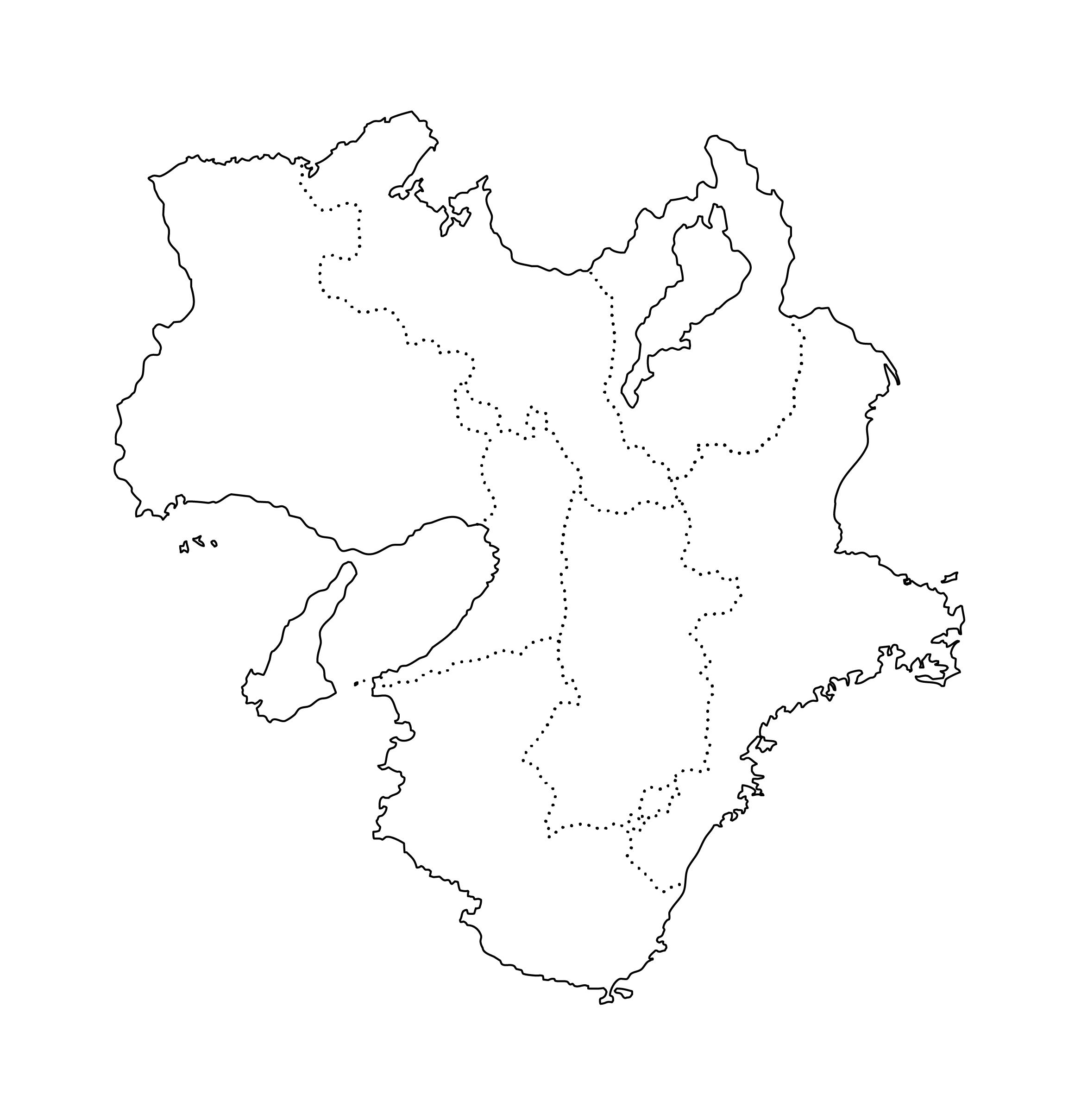 白地図・近畿・都道府県名なし