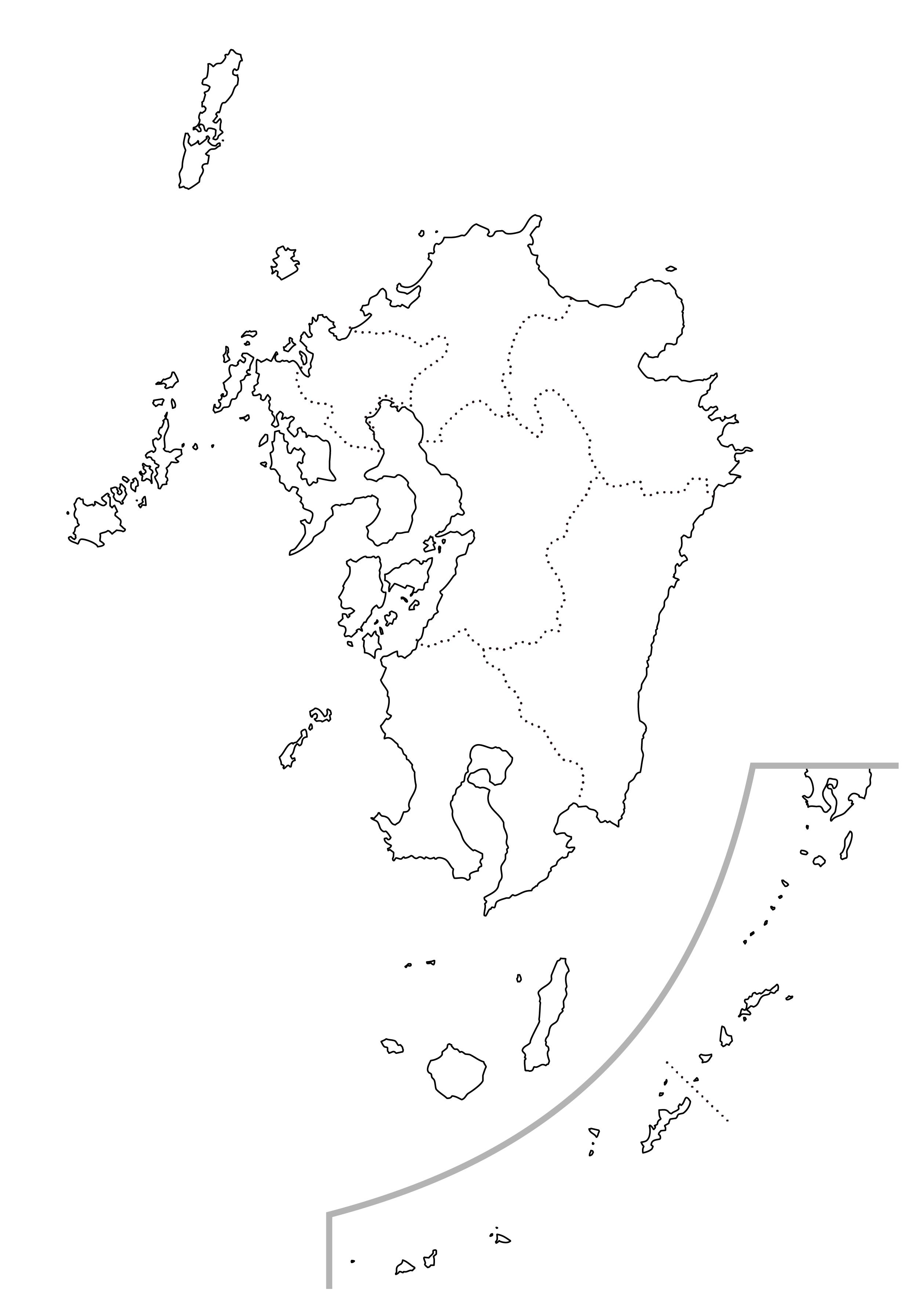白地図・九州沖縄・都道府県名なし