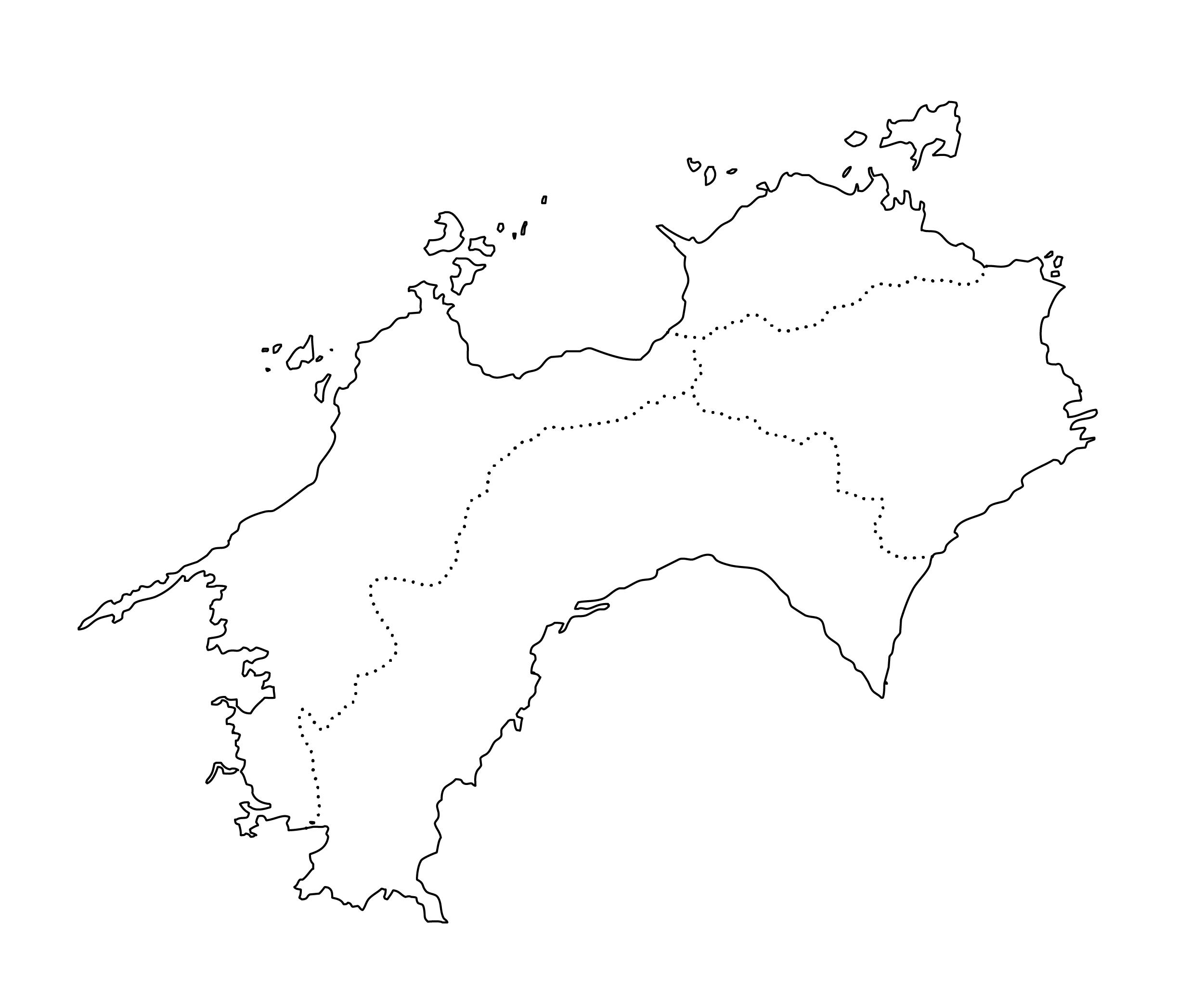 白地図・四国・都道府県名なし