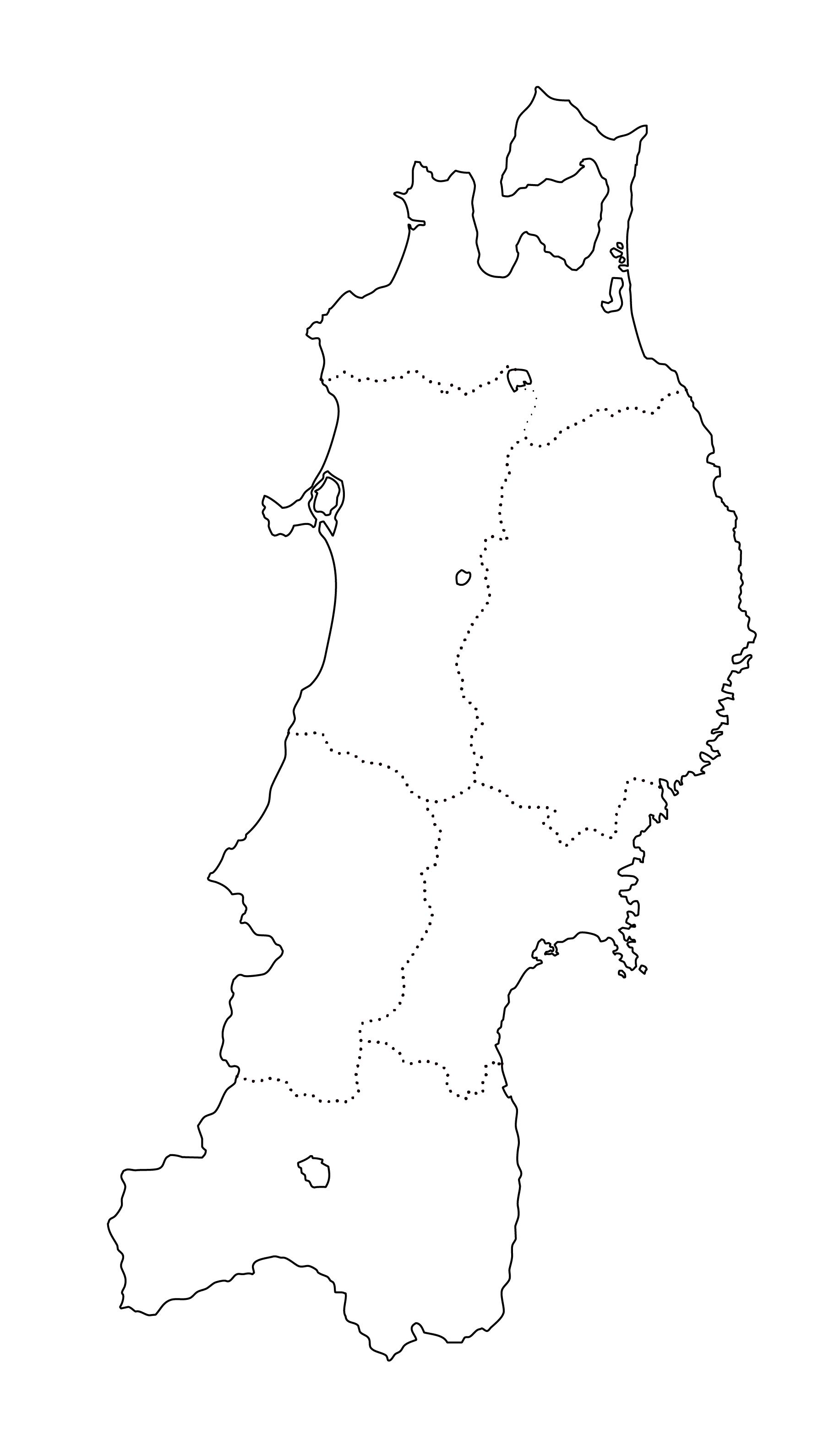 白地図・東北・都道府県名なし