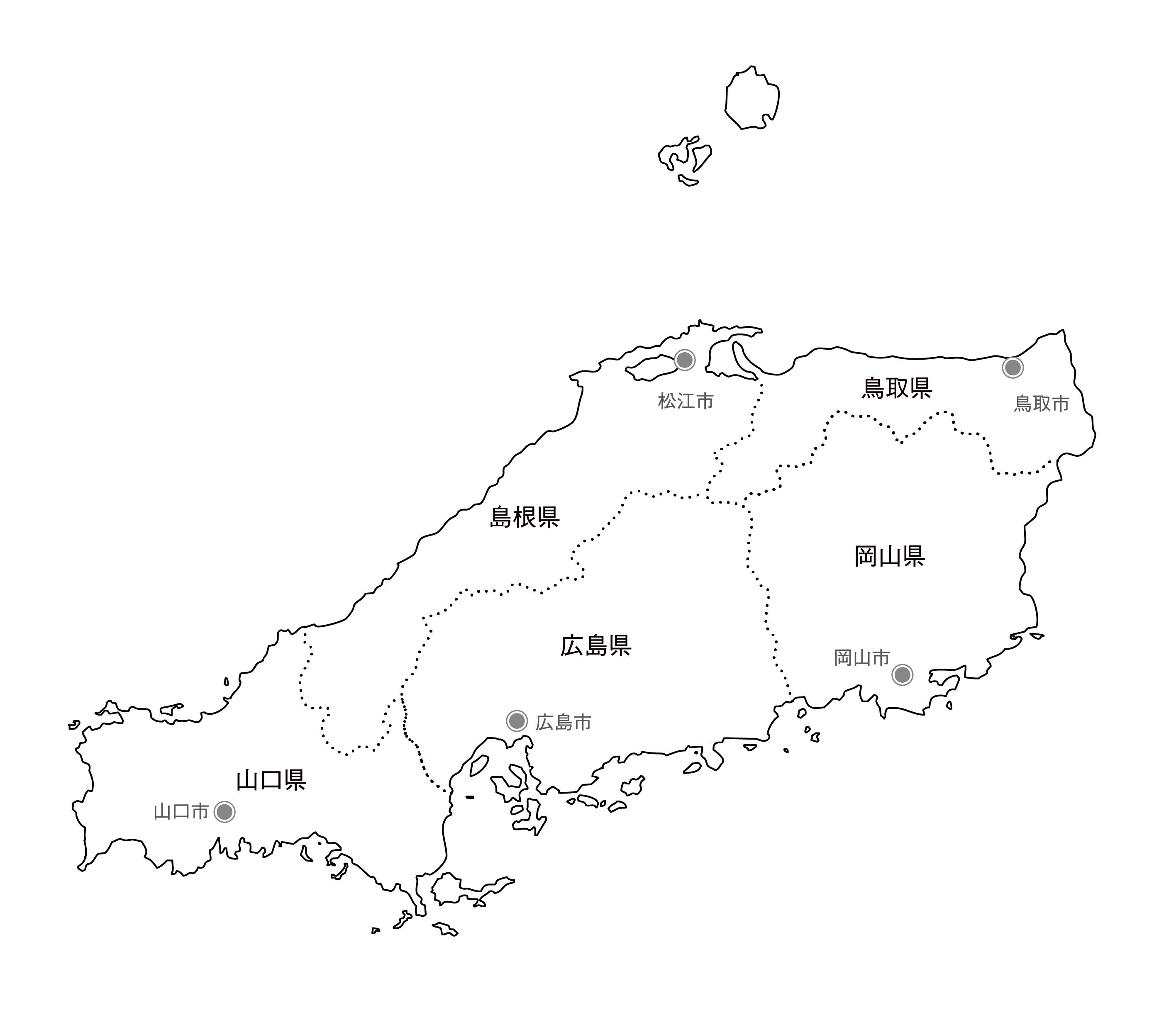 [白地図]中国・県庁所在地あり