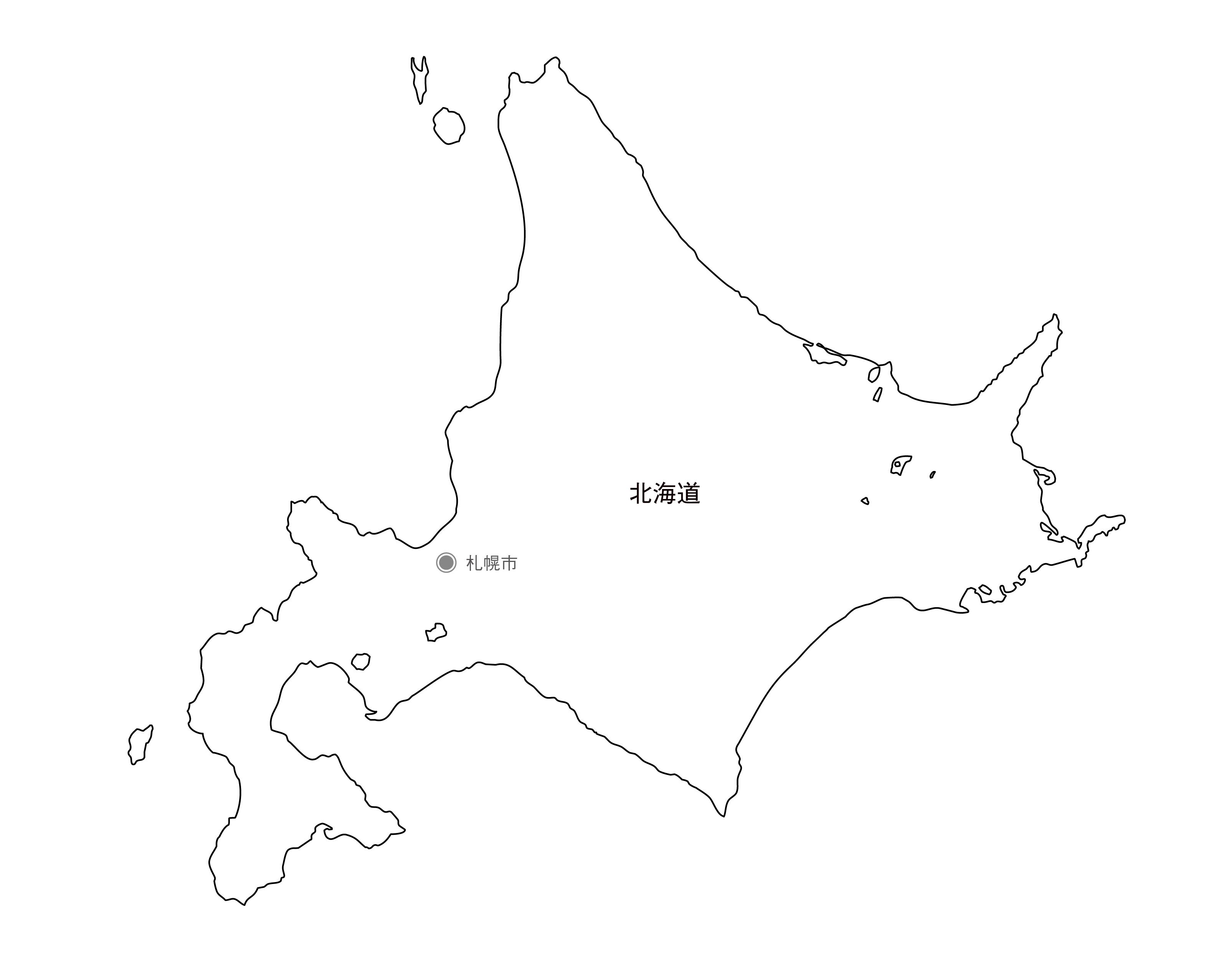 [白地図]北海道・県庁所在地あり