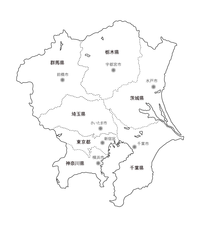 [白地図]関東・県庁所在地あり・ルビあり