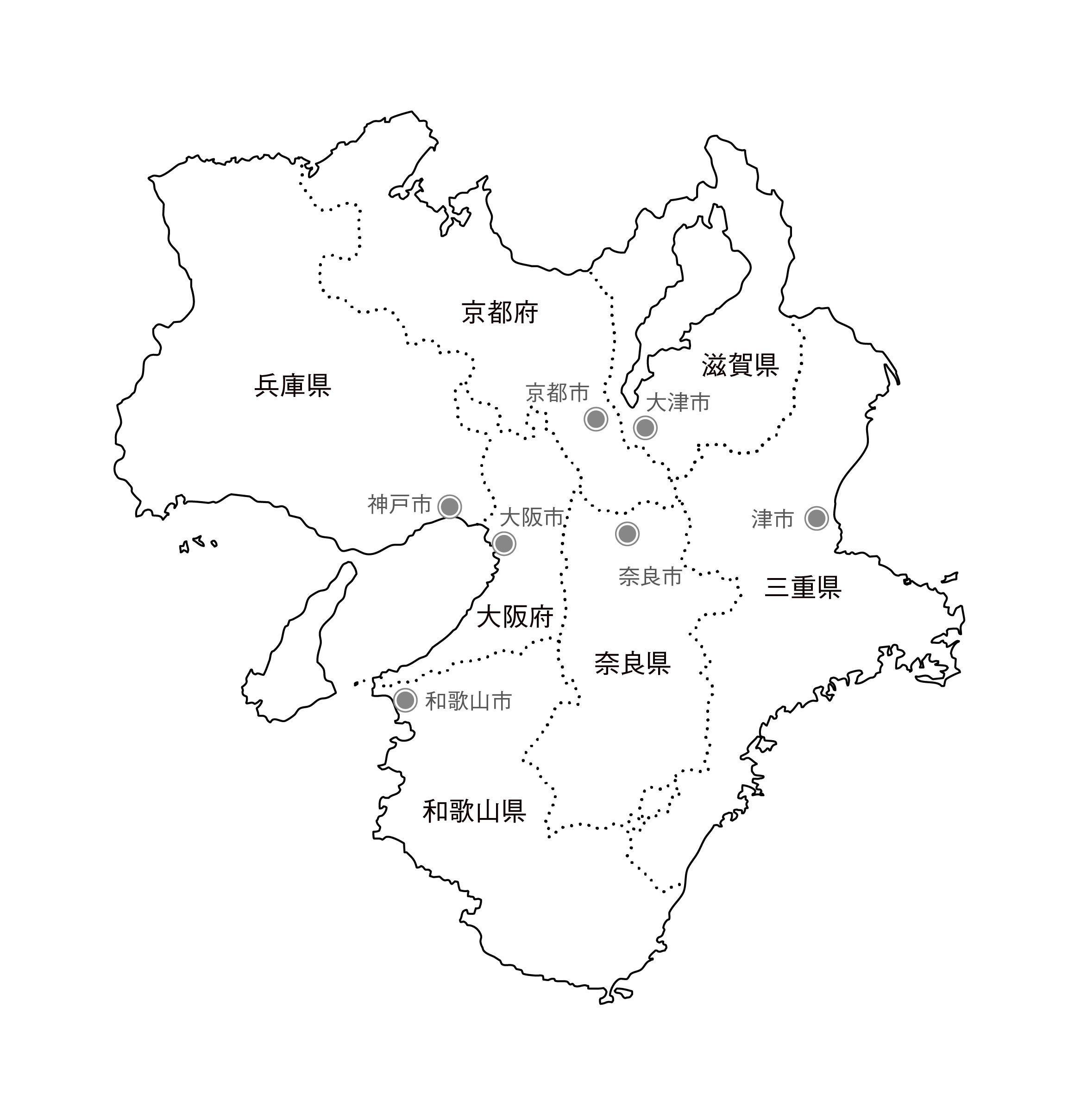 [白地図]近畿・県庁所在地あり