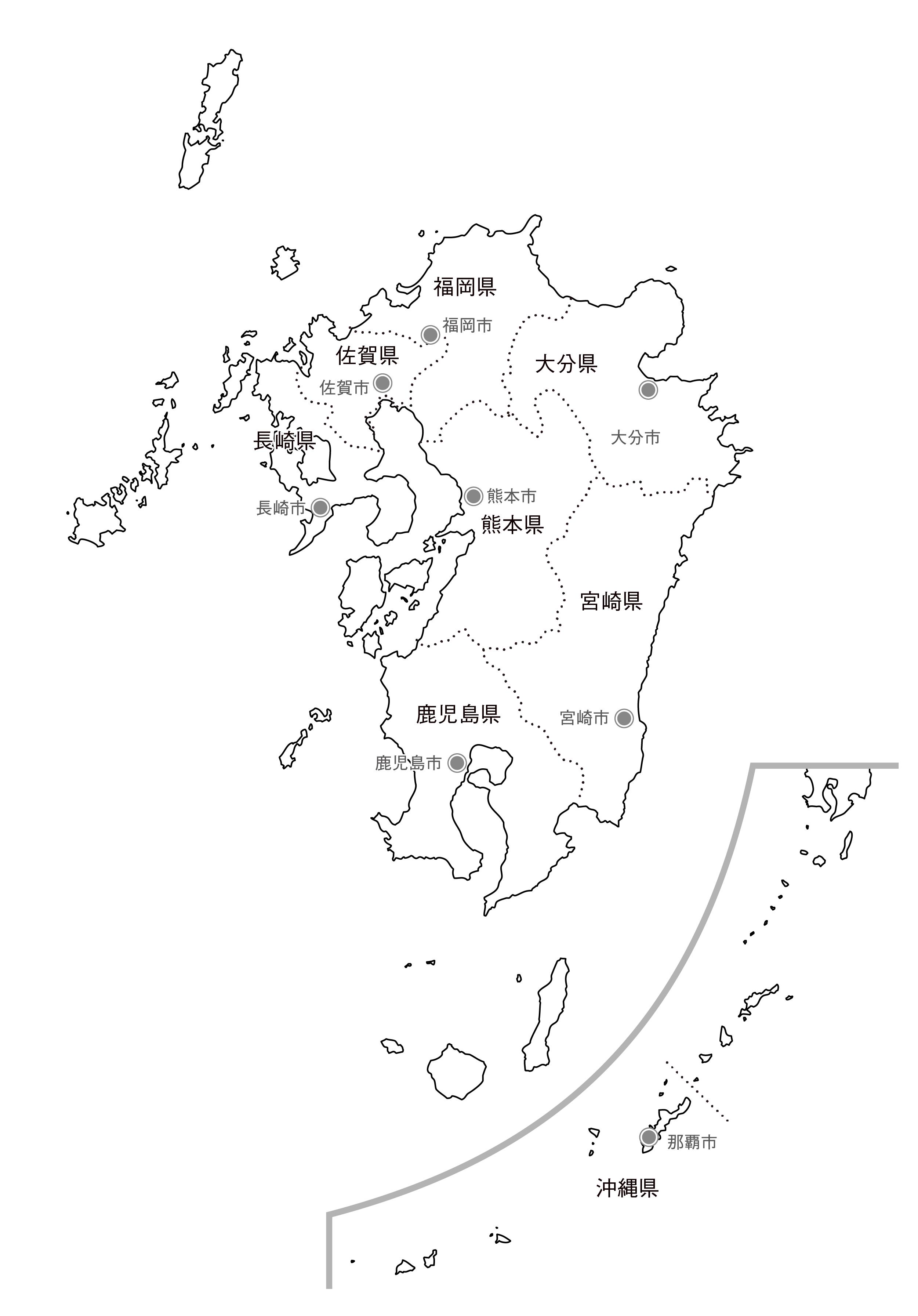 [白地図]九州沖縄・県庁所在地あり