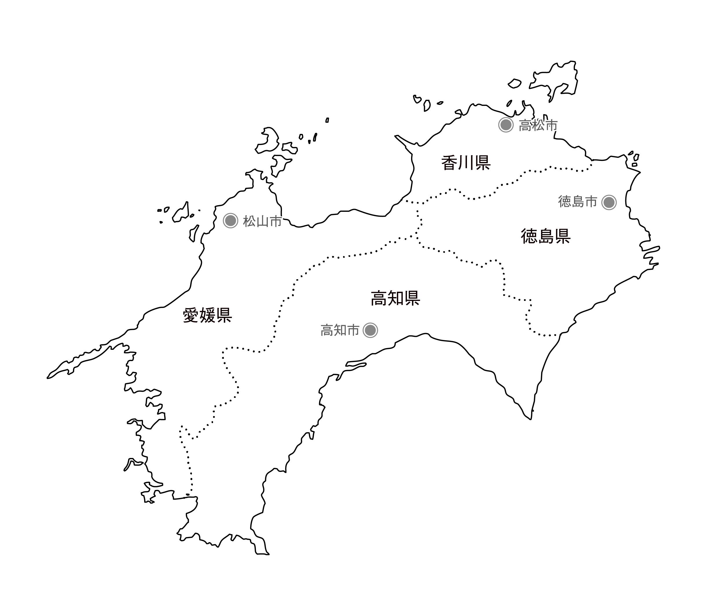 [白地図]四国・県庁所在地あり