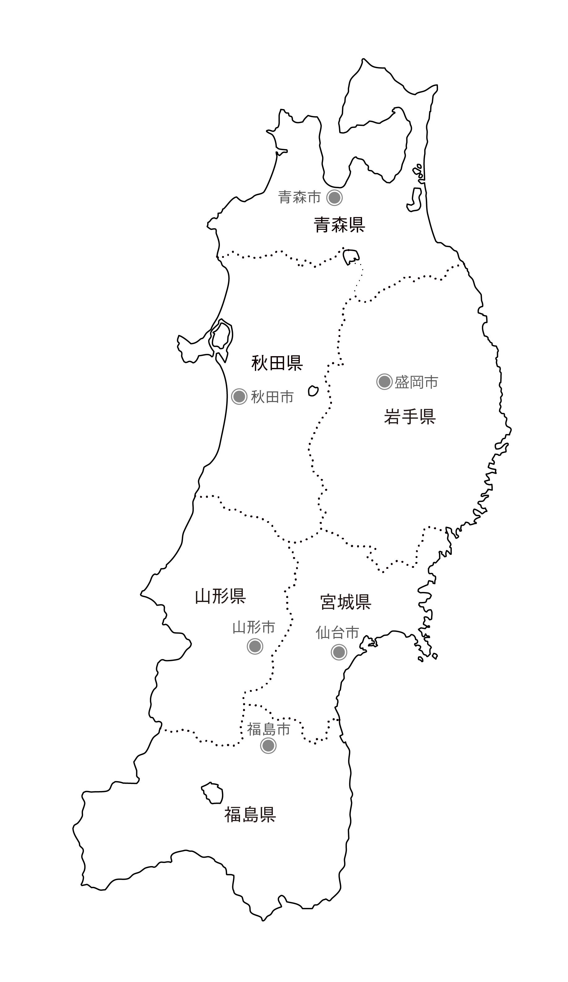 [白地図]東北・県庁所在地あり