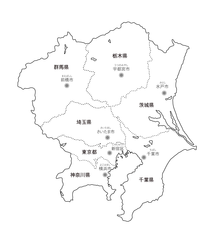 [白地図]関東・県庁所在地あり