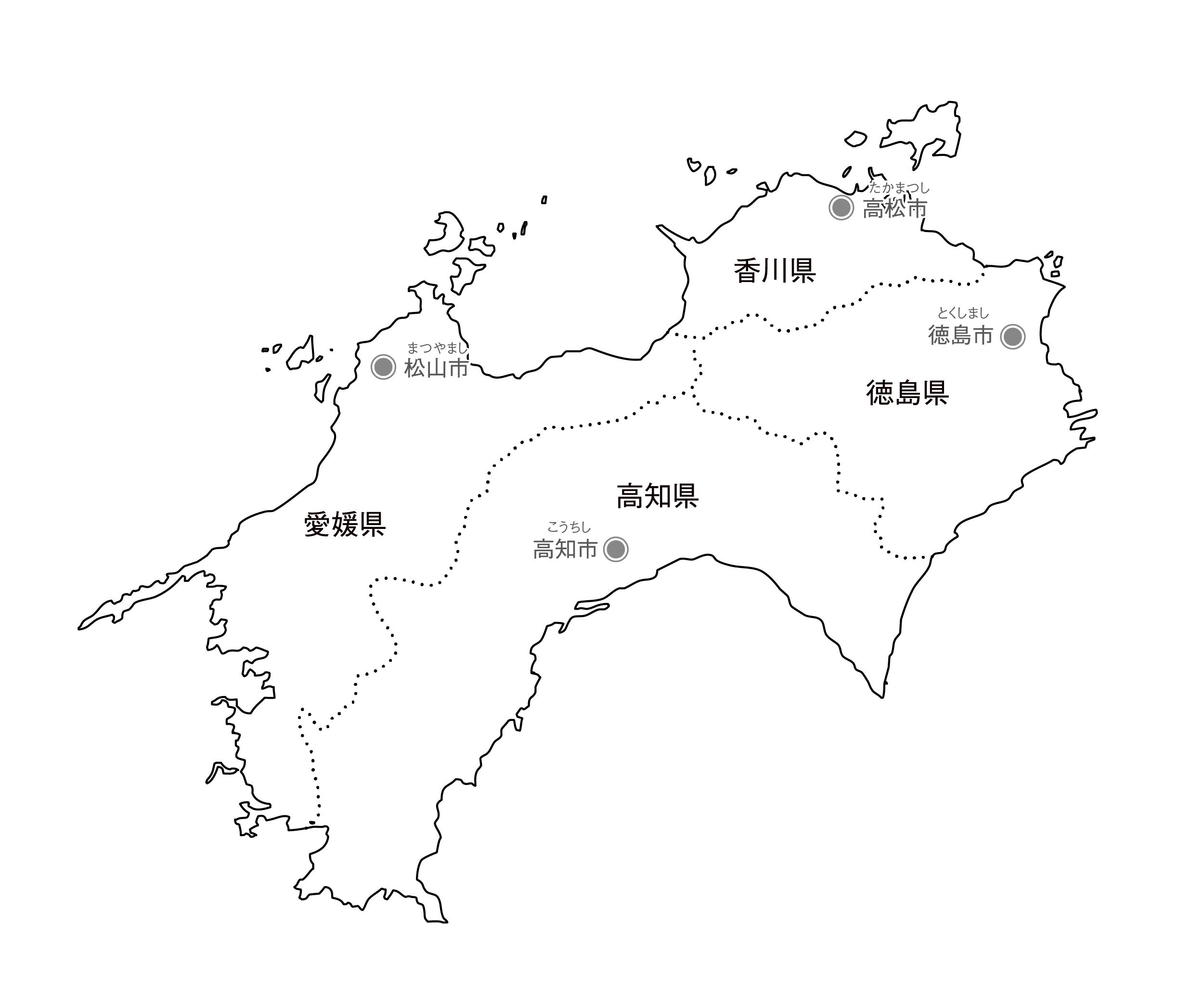 [白地図]四国・県庁所在地あり・ルビあり